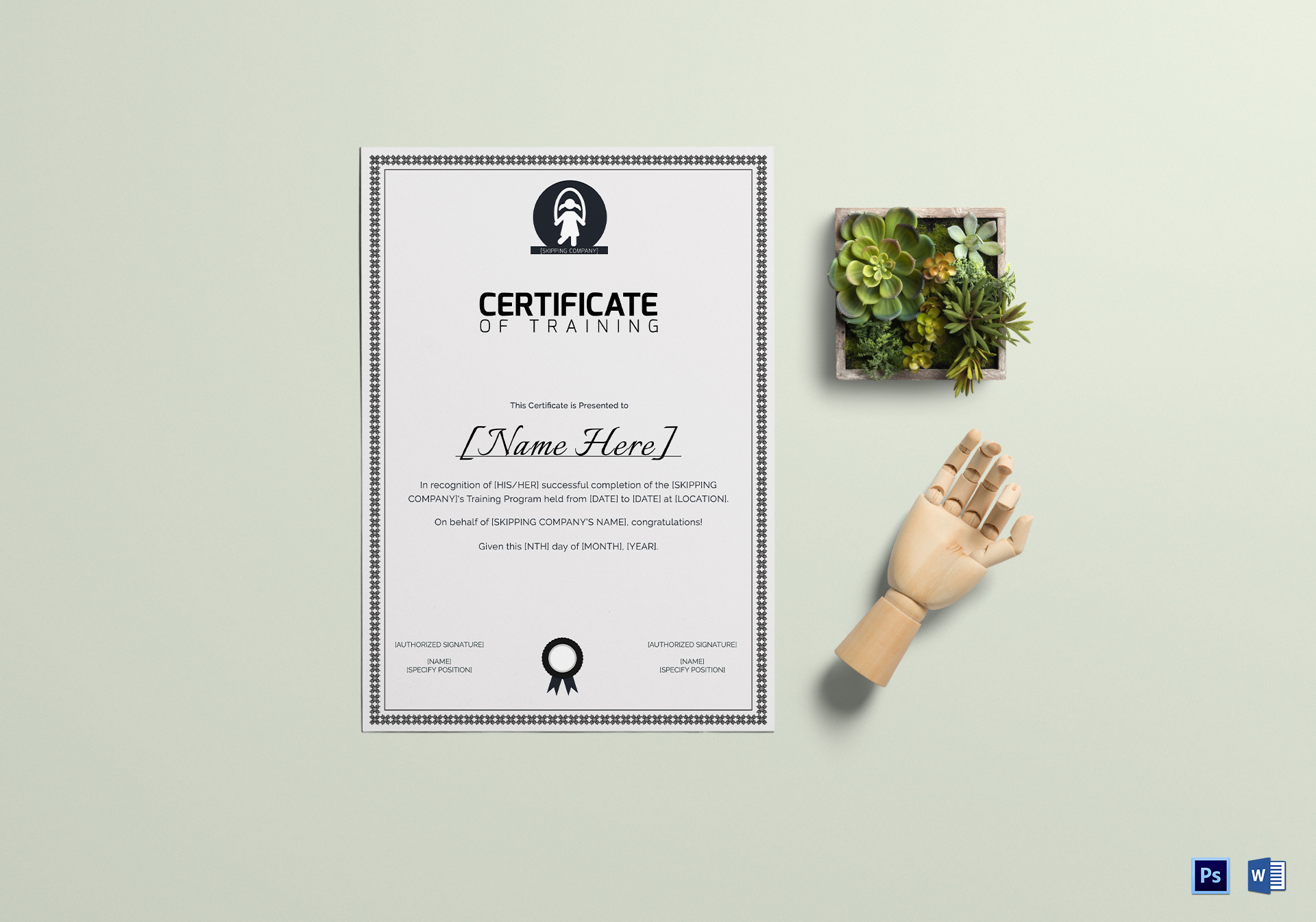 Skipping Training Certificate Template
