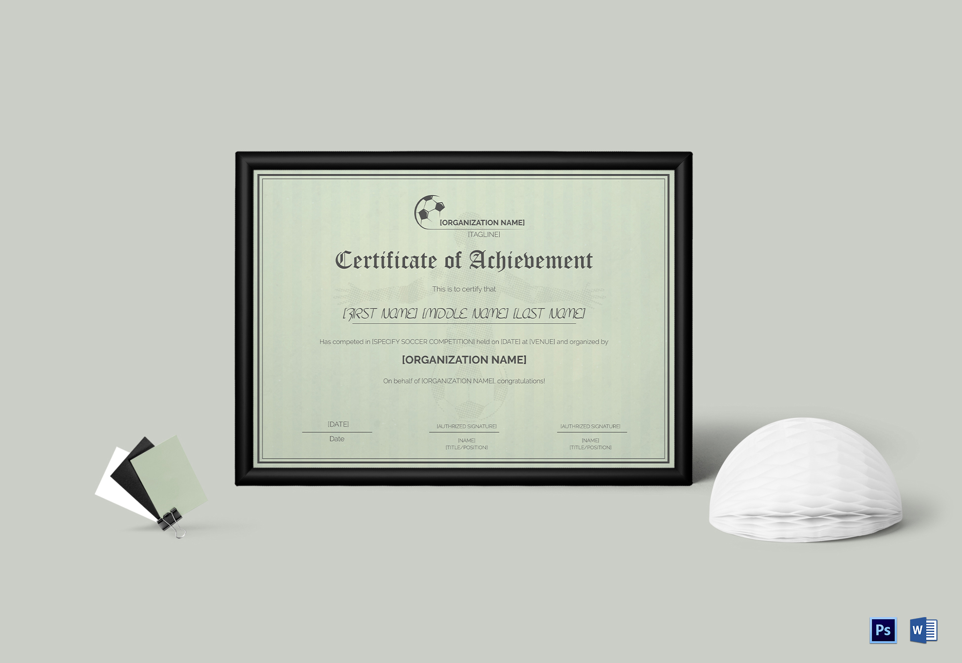 Soccer Sports Certificate Template