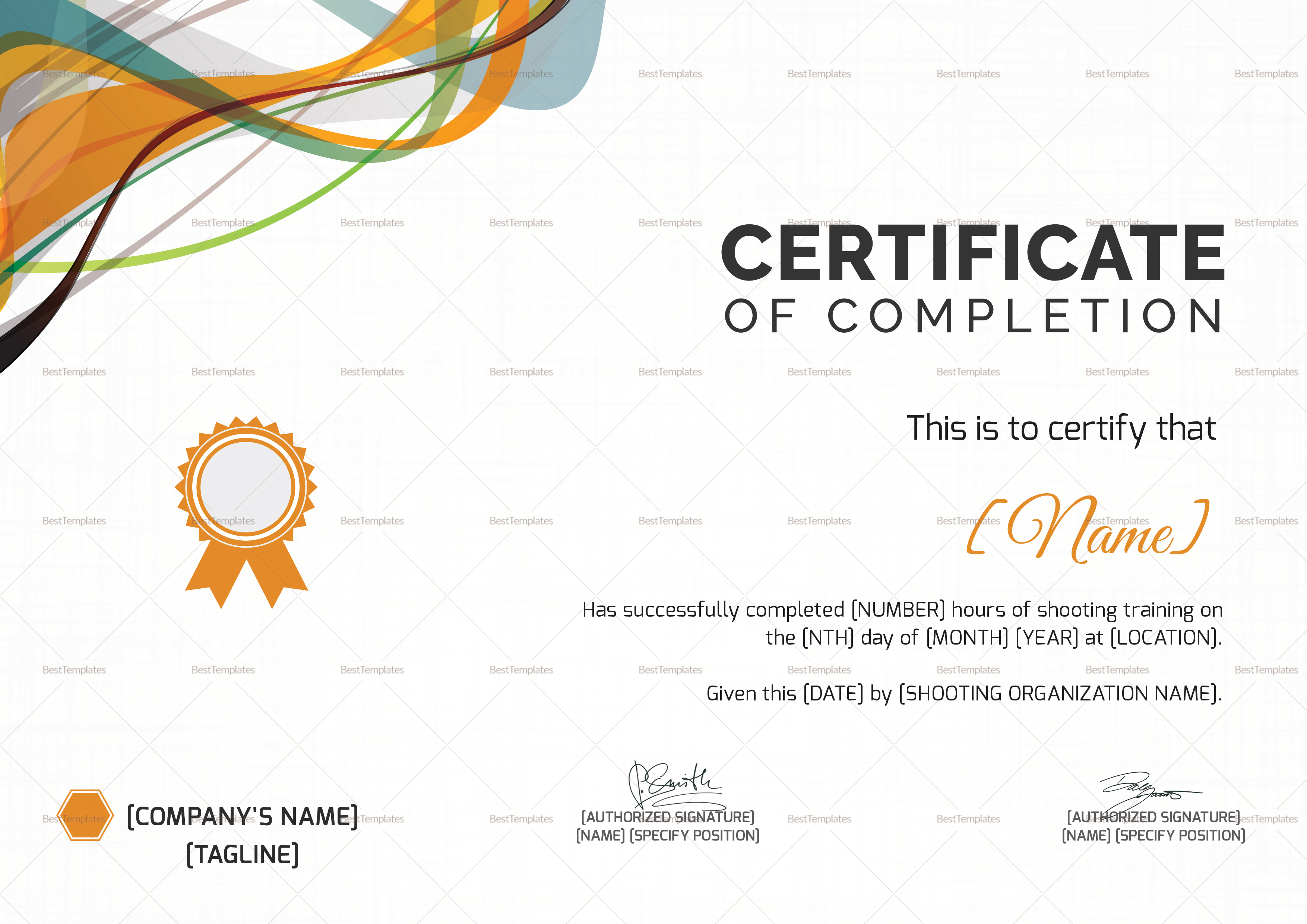 shooting completion certificate design template in psd word