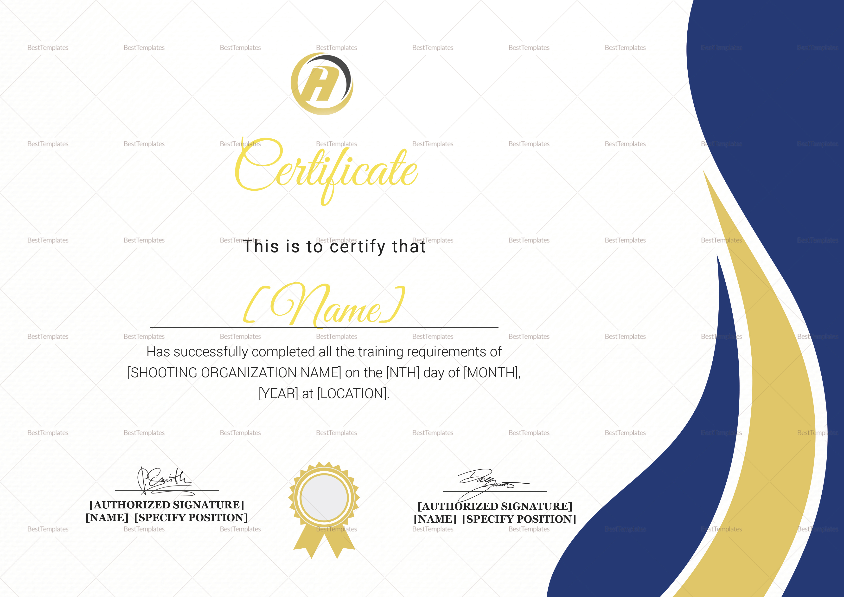 shooting training completion certificate design template