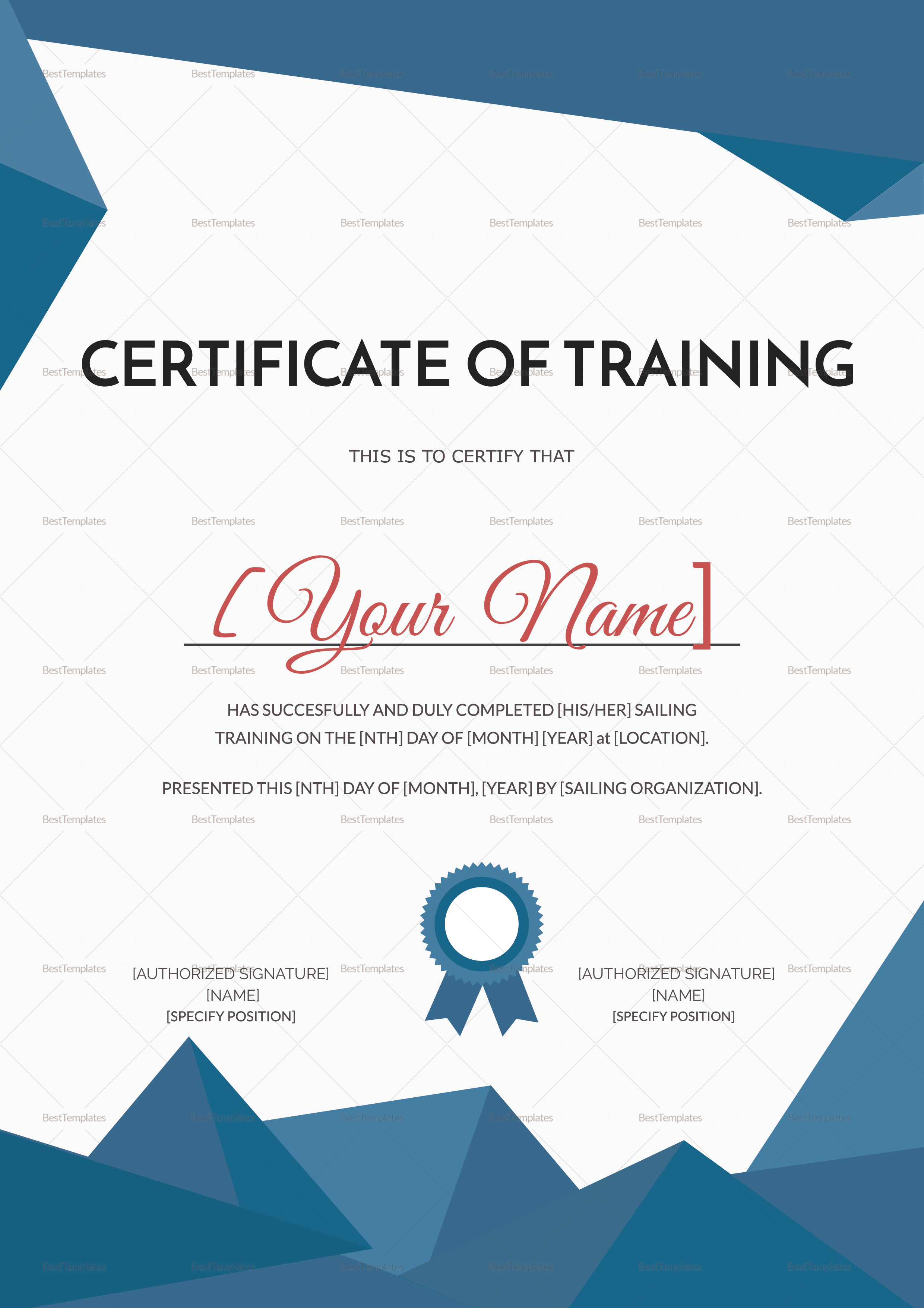 Sailing Training Certificate Design Template In Psd Word