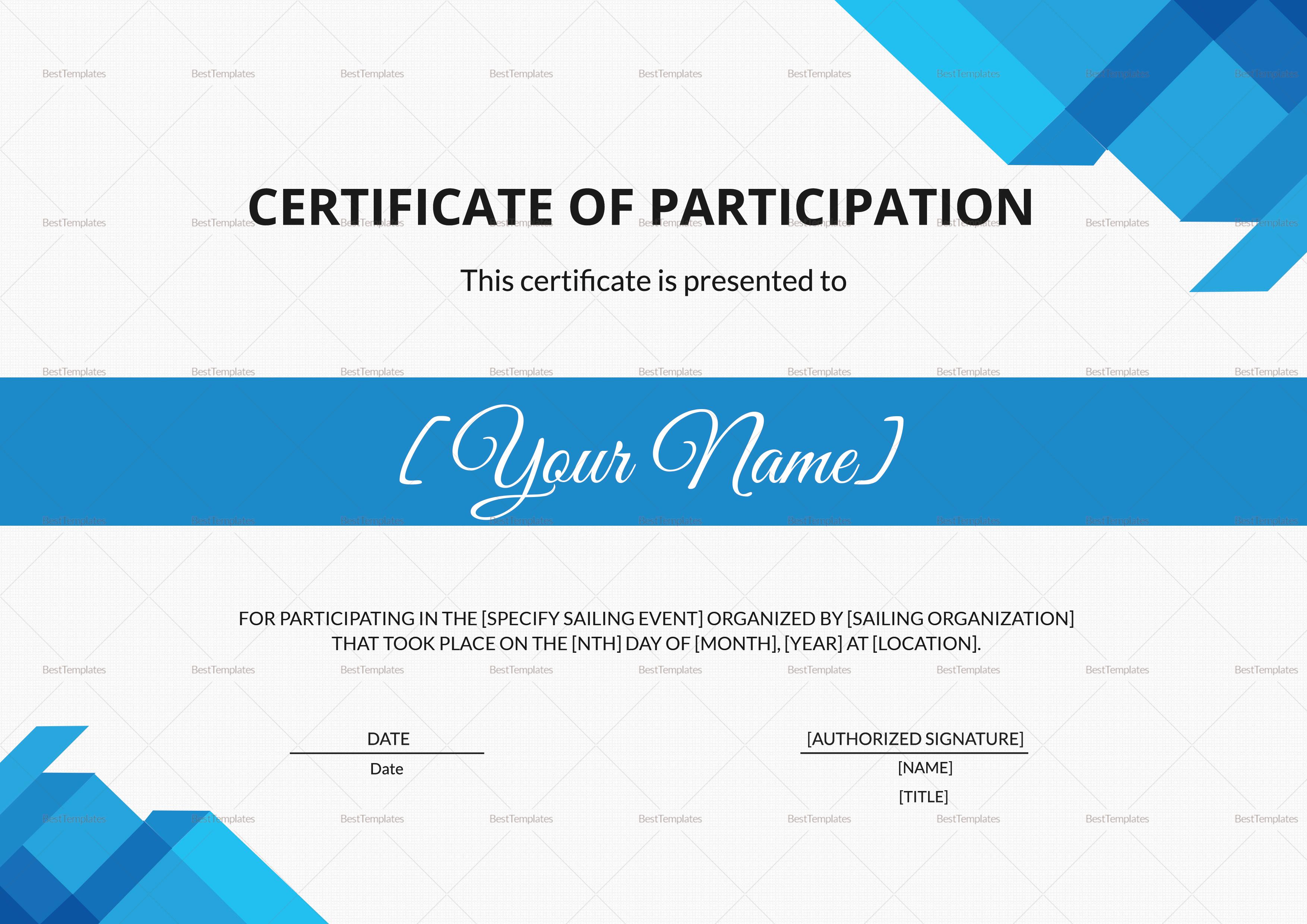Sailing Participation Certificate Design Template