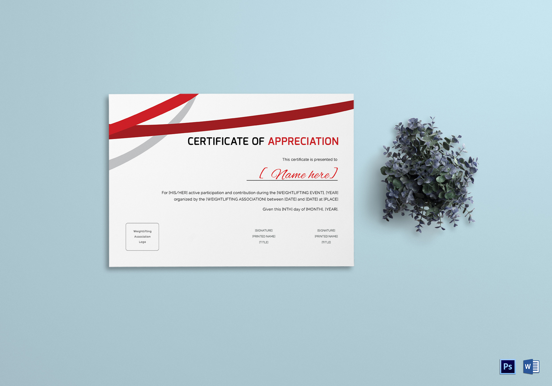 Weight Lifting Appreciation Certificate Template