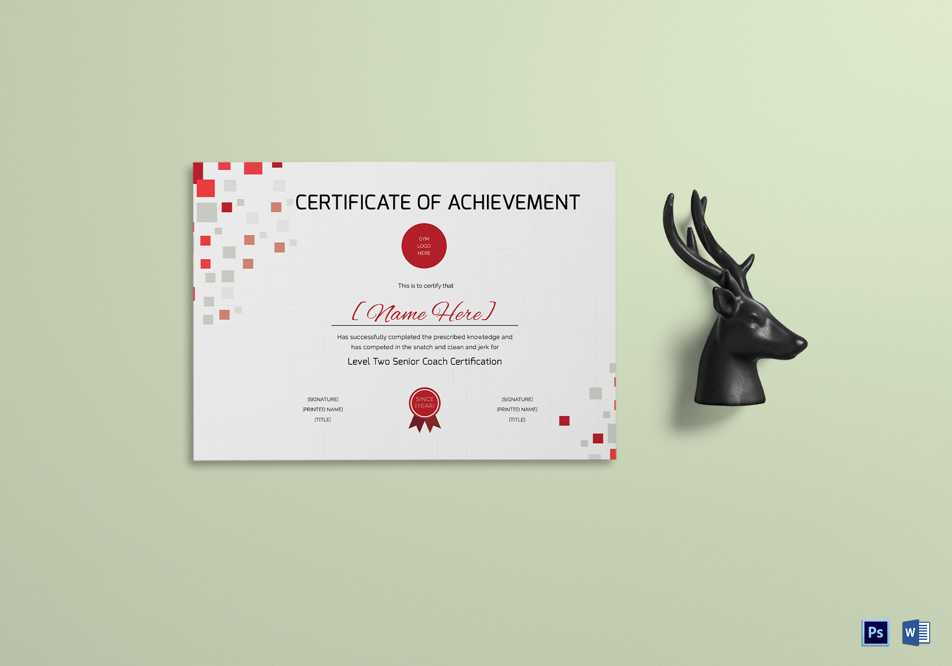 Weigh Lifting Achievement Certificate Template