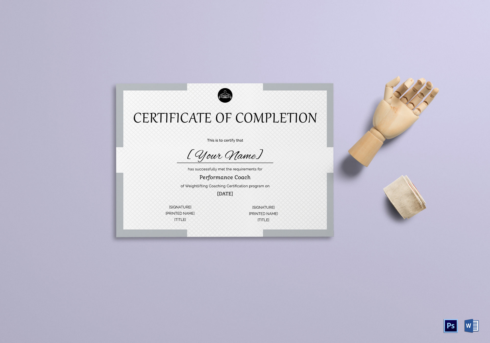 Weight Lifting Completion Certificate Template