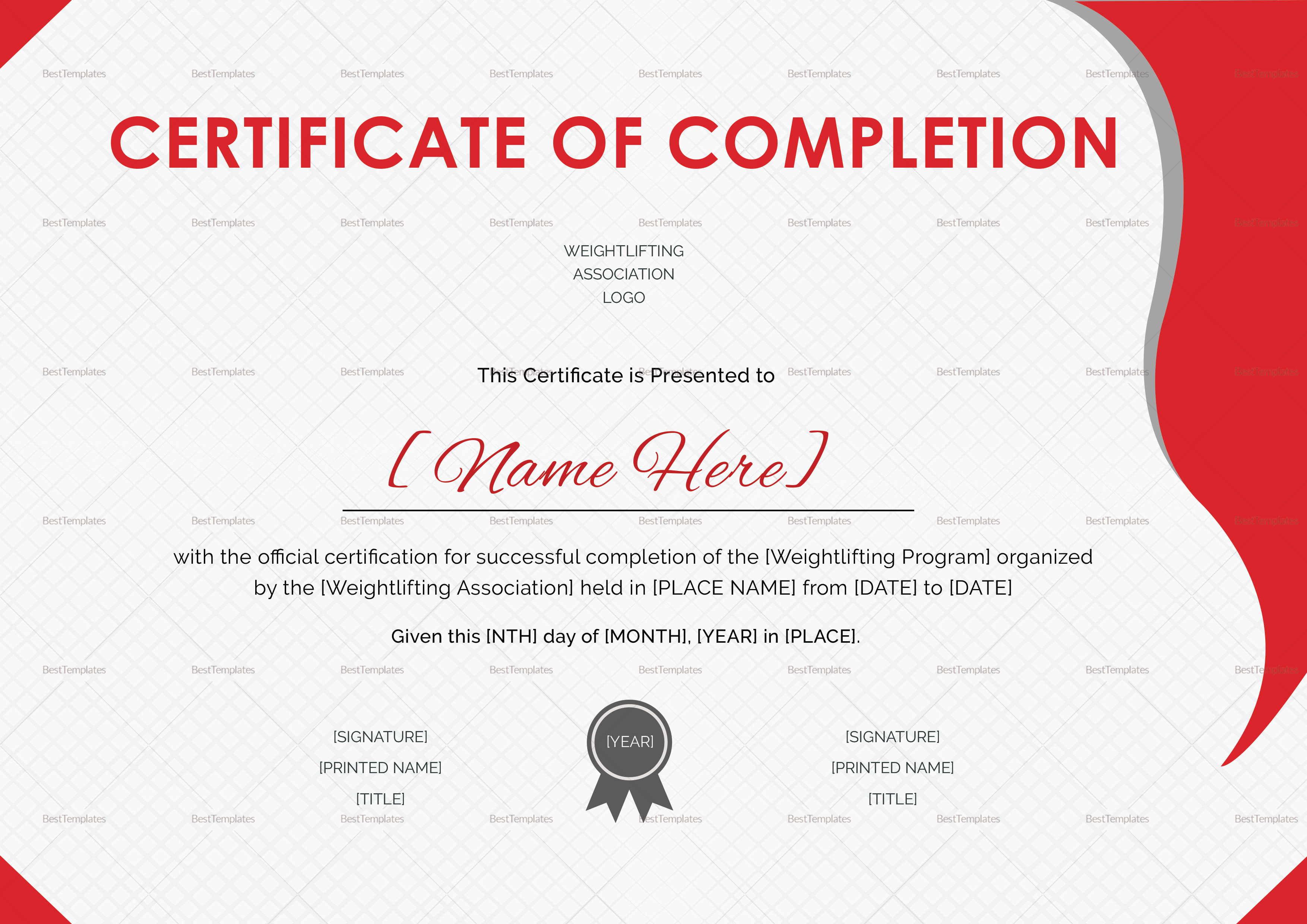 weightlifting certificate design template in psd  word
