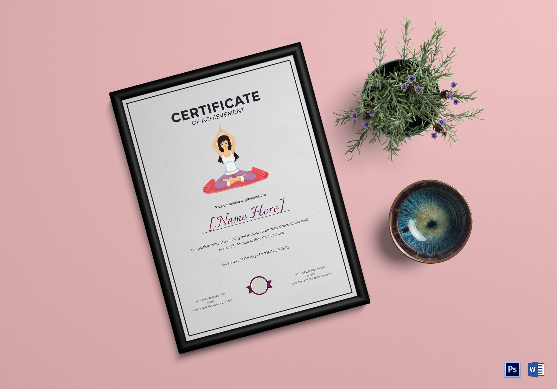 yoga achievement certificate template - Yoga Certificate Template