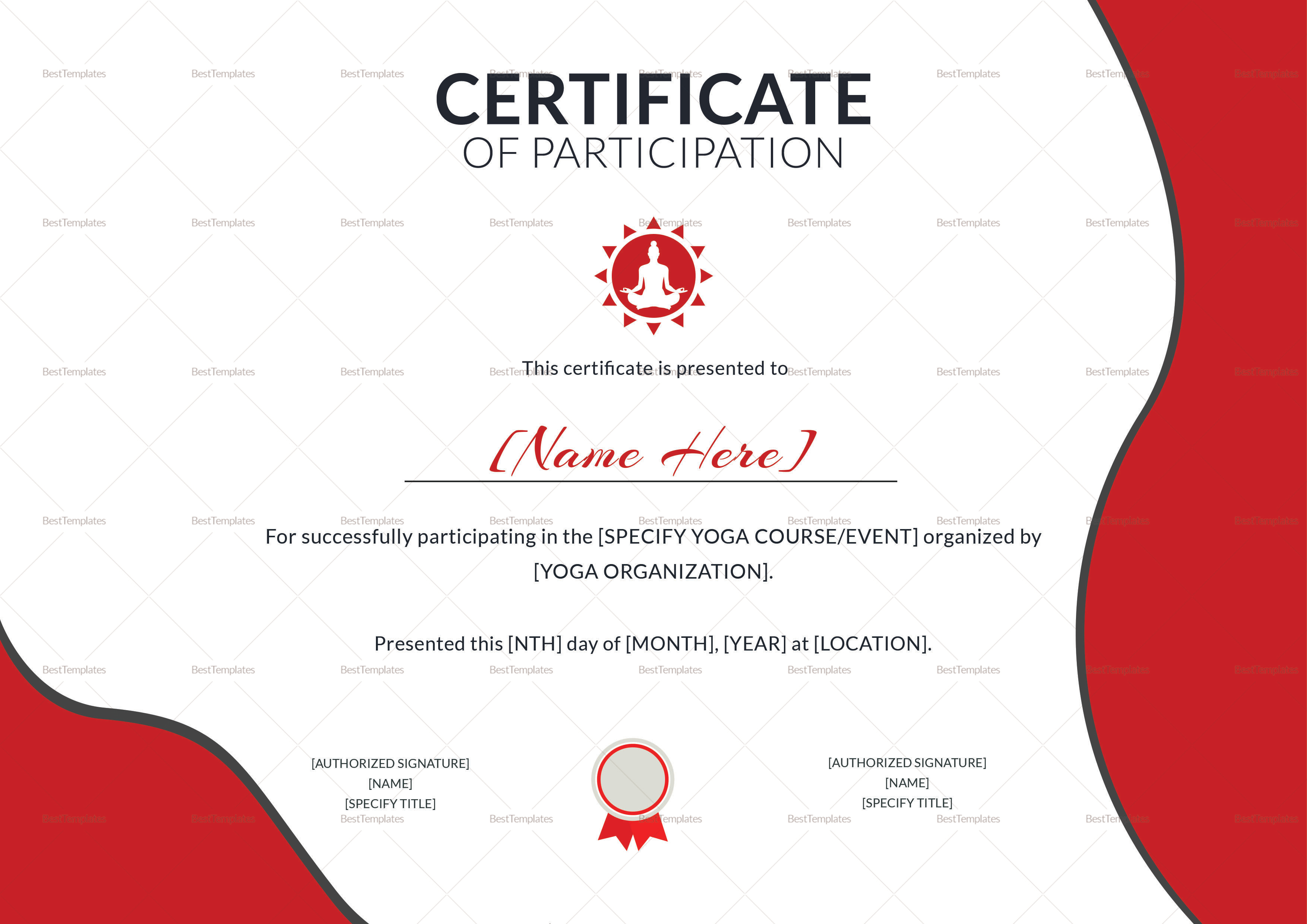 Certificate Of Participation Template Free Yoga Participation Certificate Design Template In PSD Word