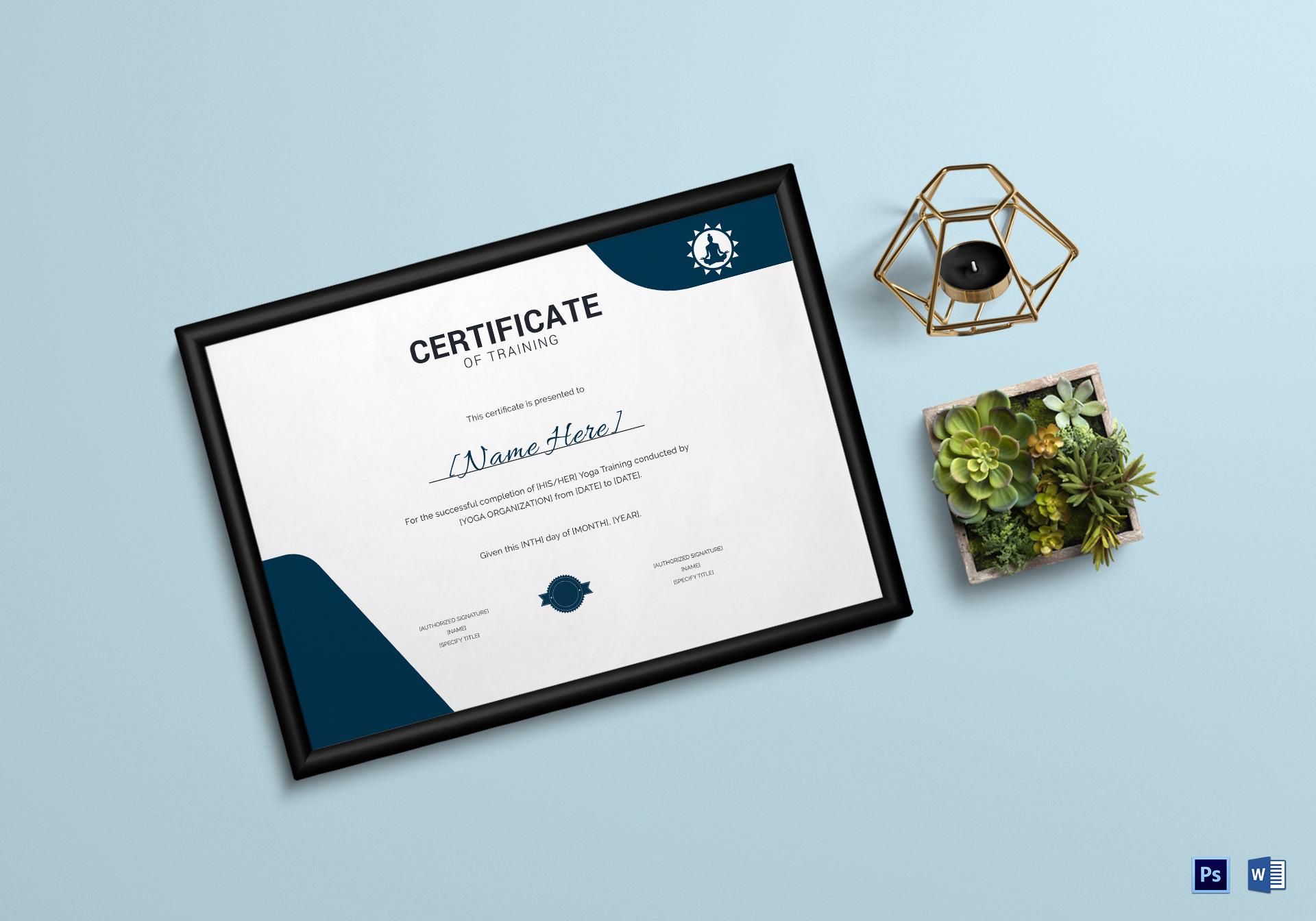 Yoga Training Certificate Template