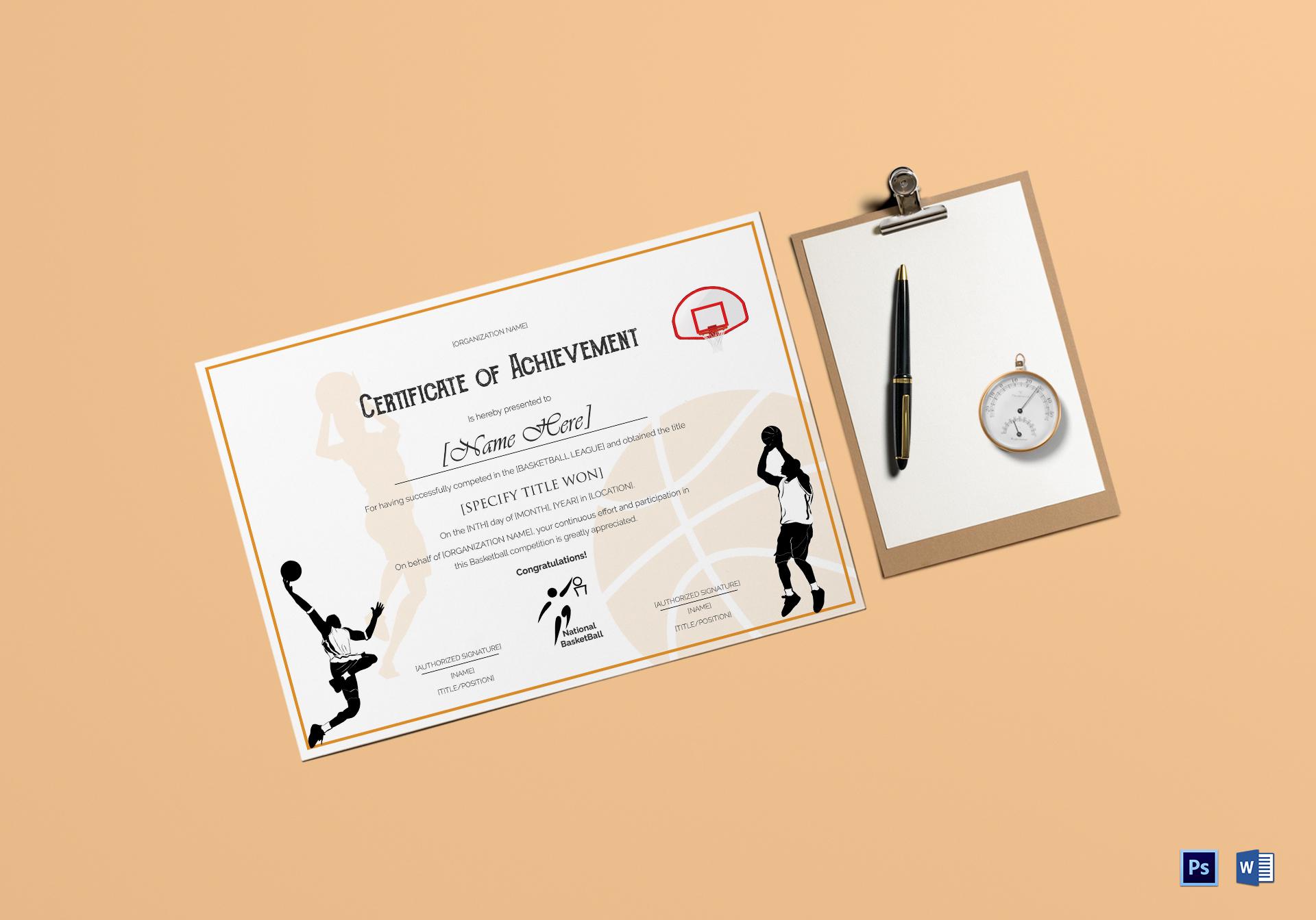 Basket Ball Achievement Certificate Template