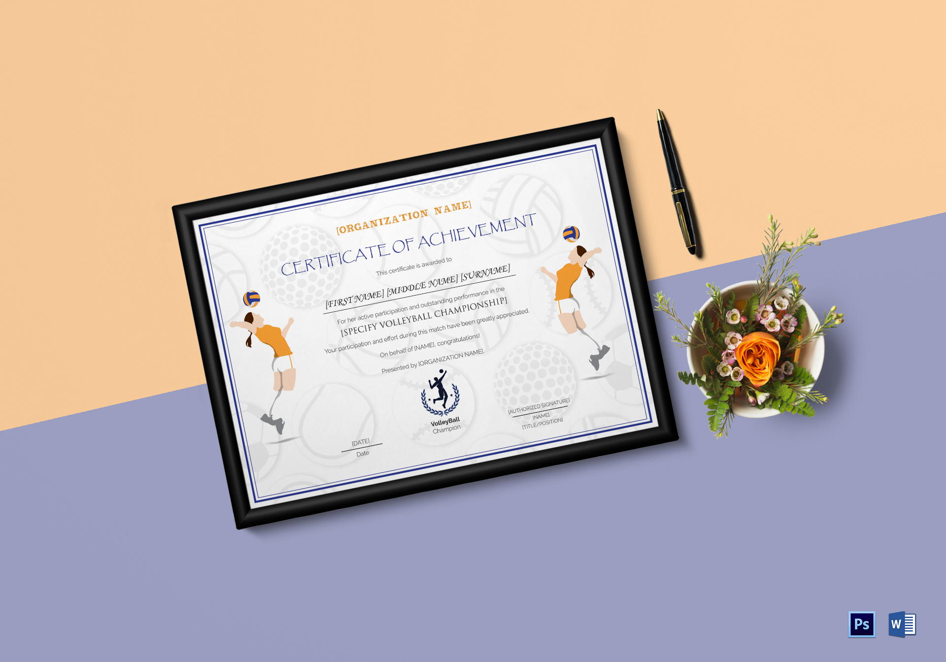 Girls Volleyball Certificate Template