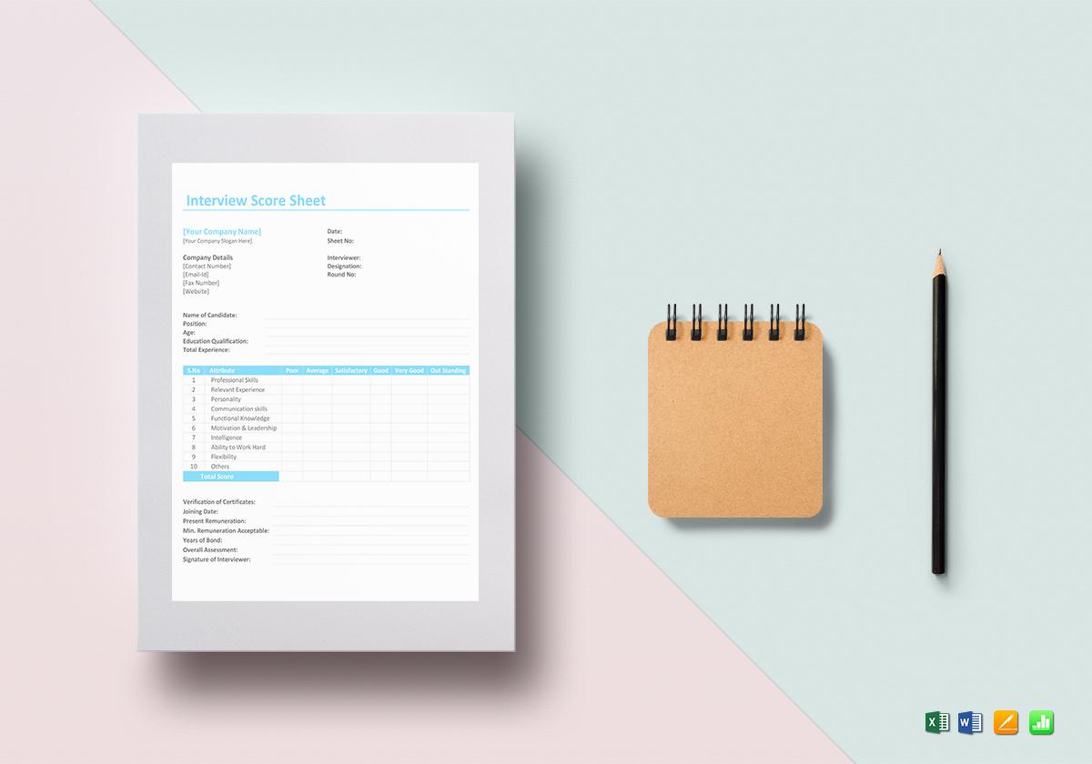Interview Score Sheet Template