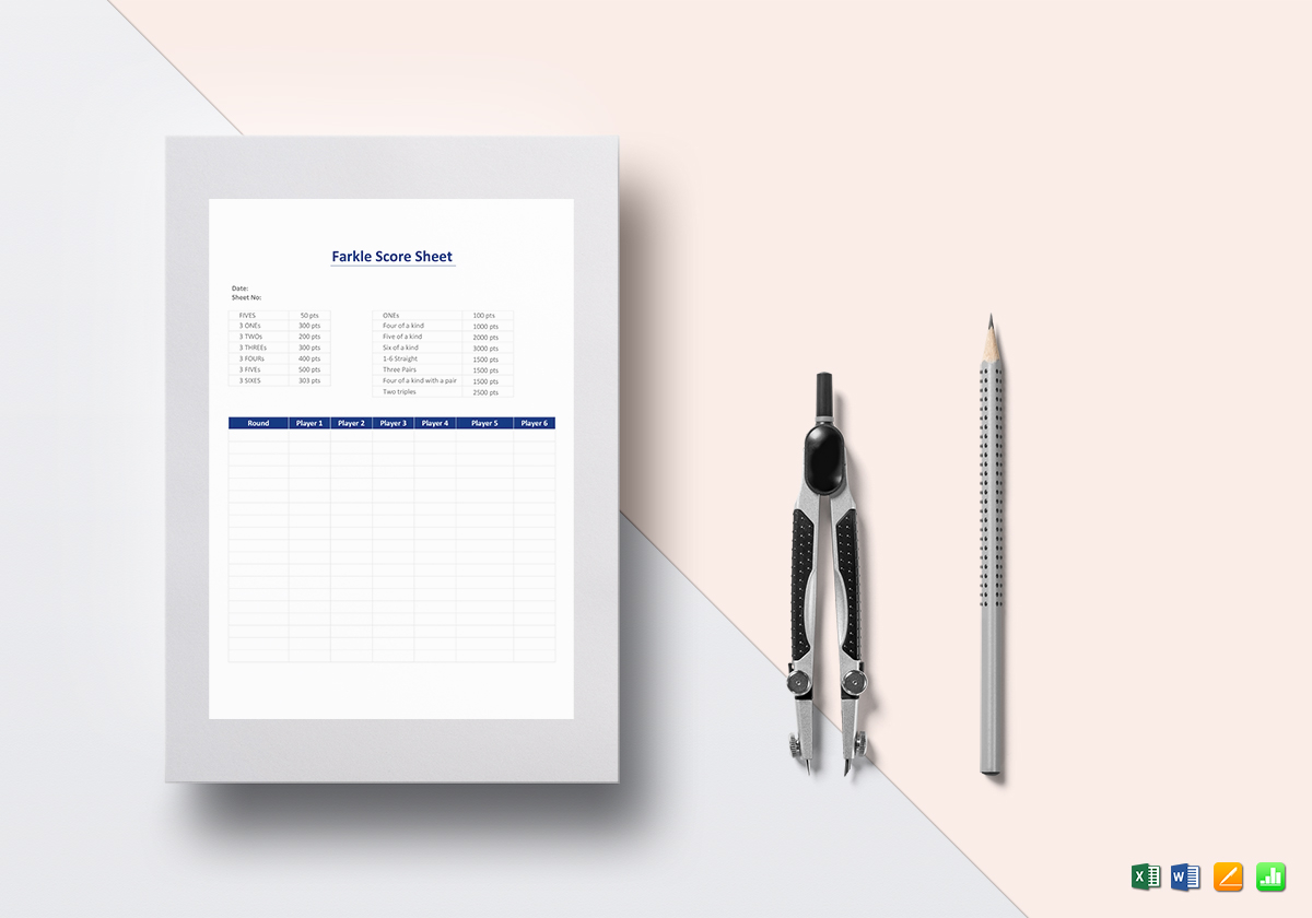 Farkle Score Sheet Template In Word Excel Apple Pages Numbers