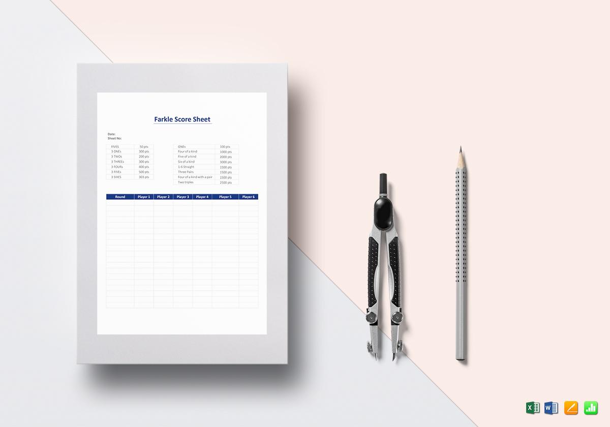 Farkle Score Sheet Template