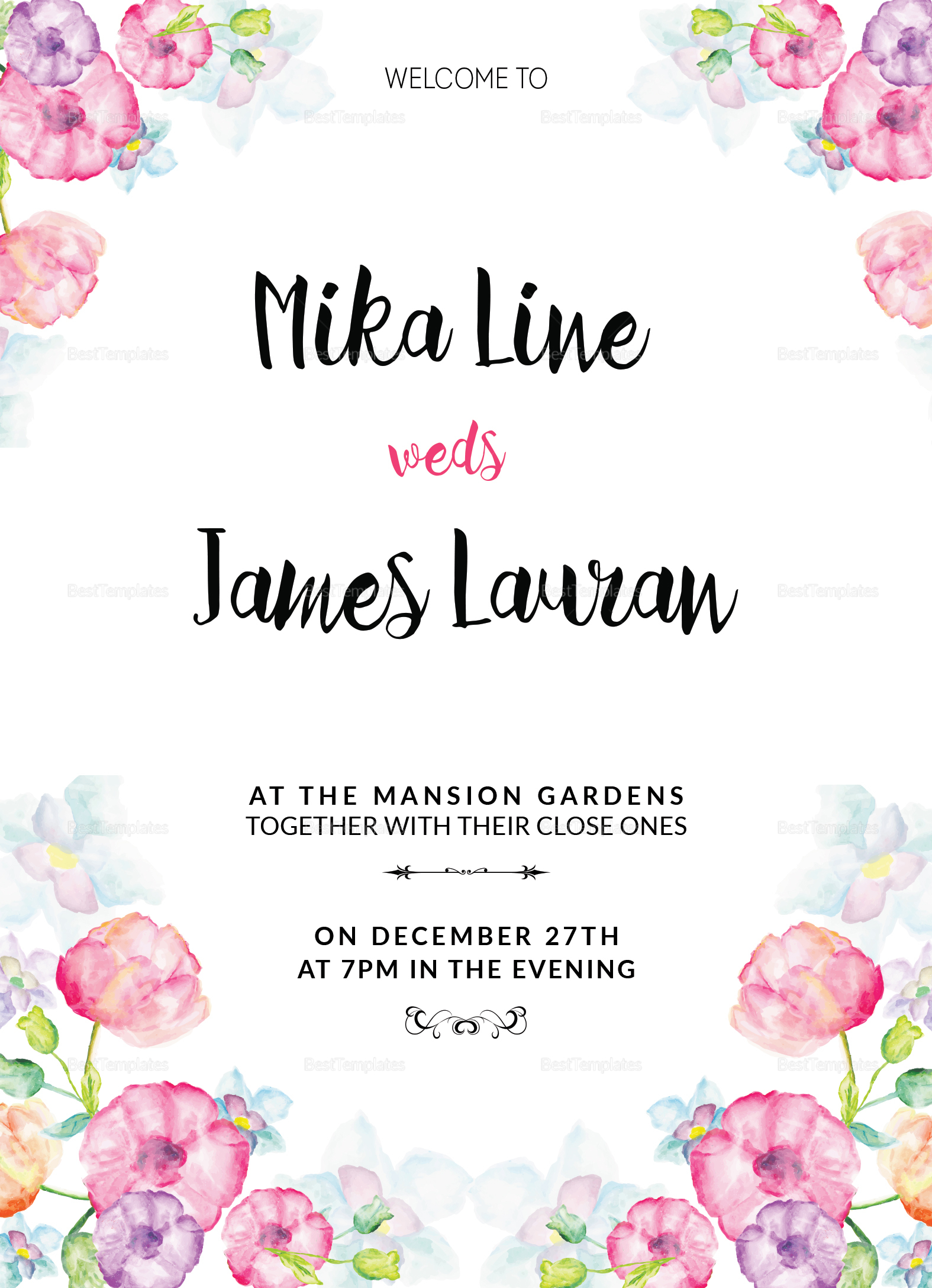 Watercolor Floral Wedding Invitation Design Template