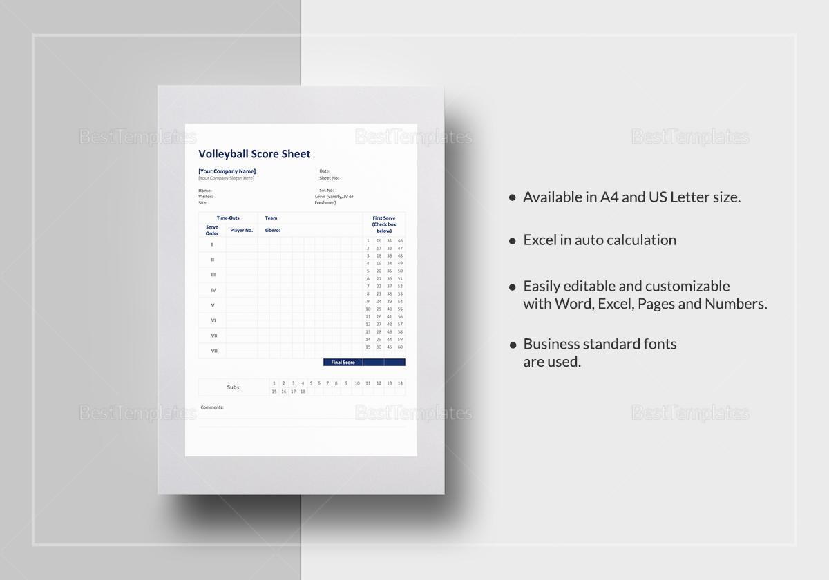 Wonderful Volleyball Score Sheet Template; Volleyball Score Sheet Template