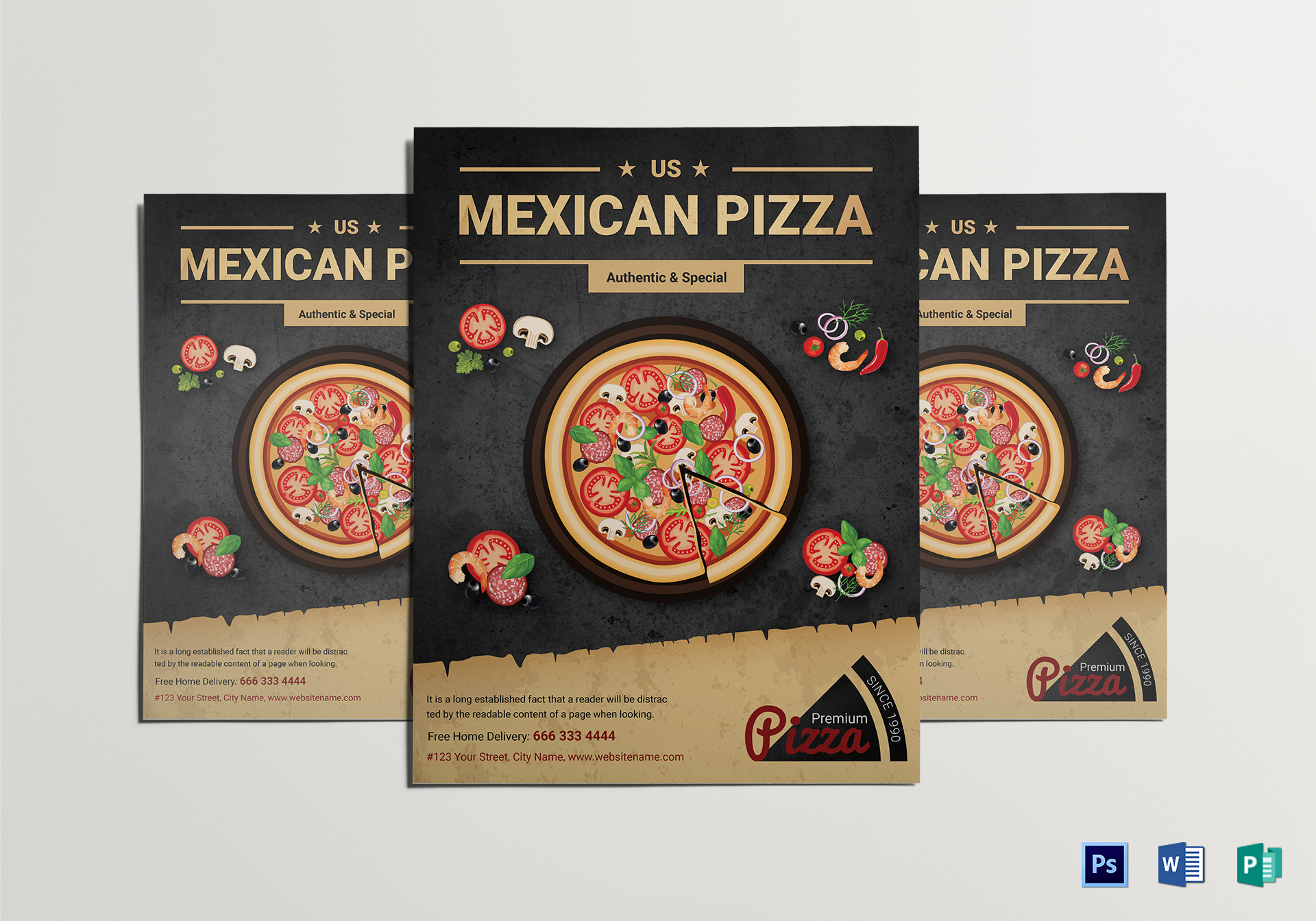 restaurant mexican pizza flyer design template in word psd publisher