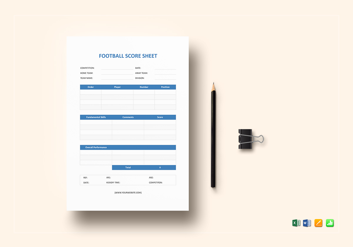 Football Score Sheet Template | Football Score Sheet Template In Word Excel Apple Pages Numbers