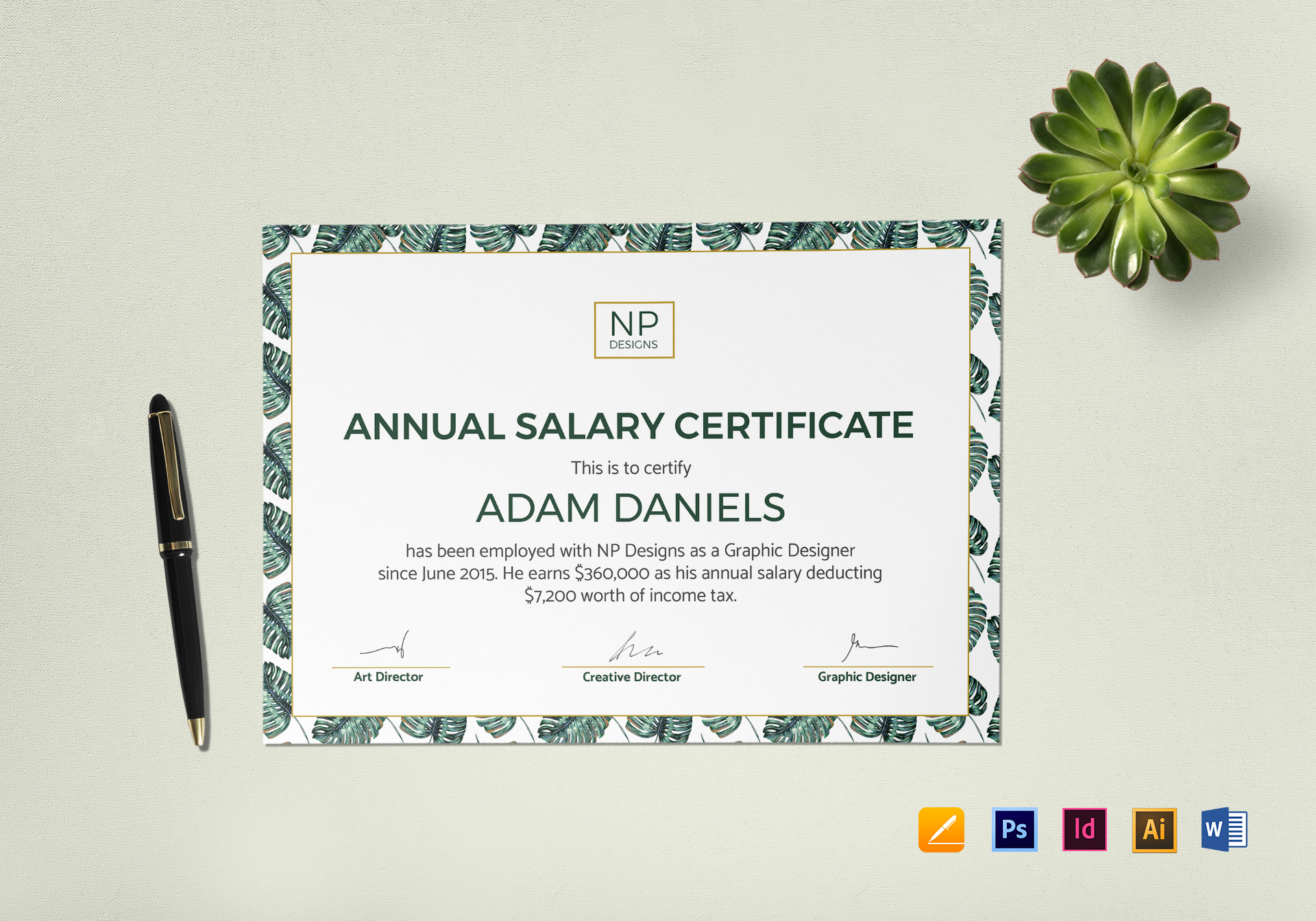 Annual Salary Certificate