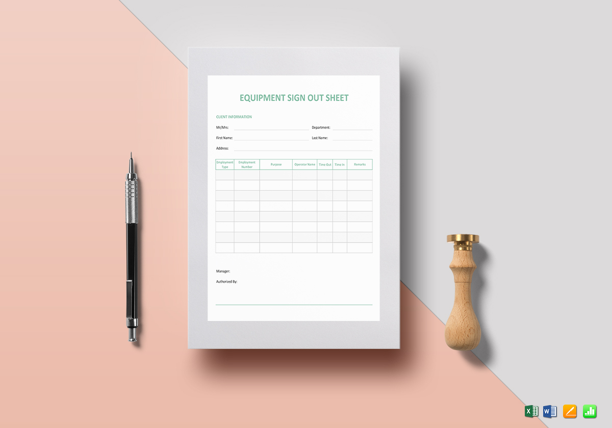 Equipment Sign Out Sheet Template