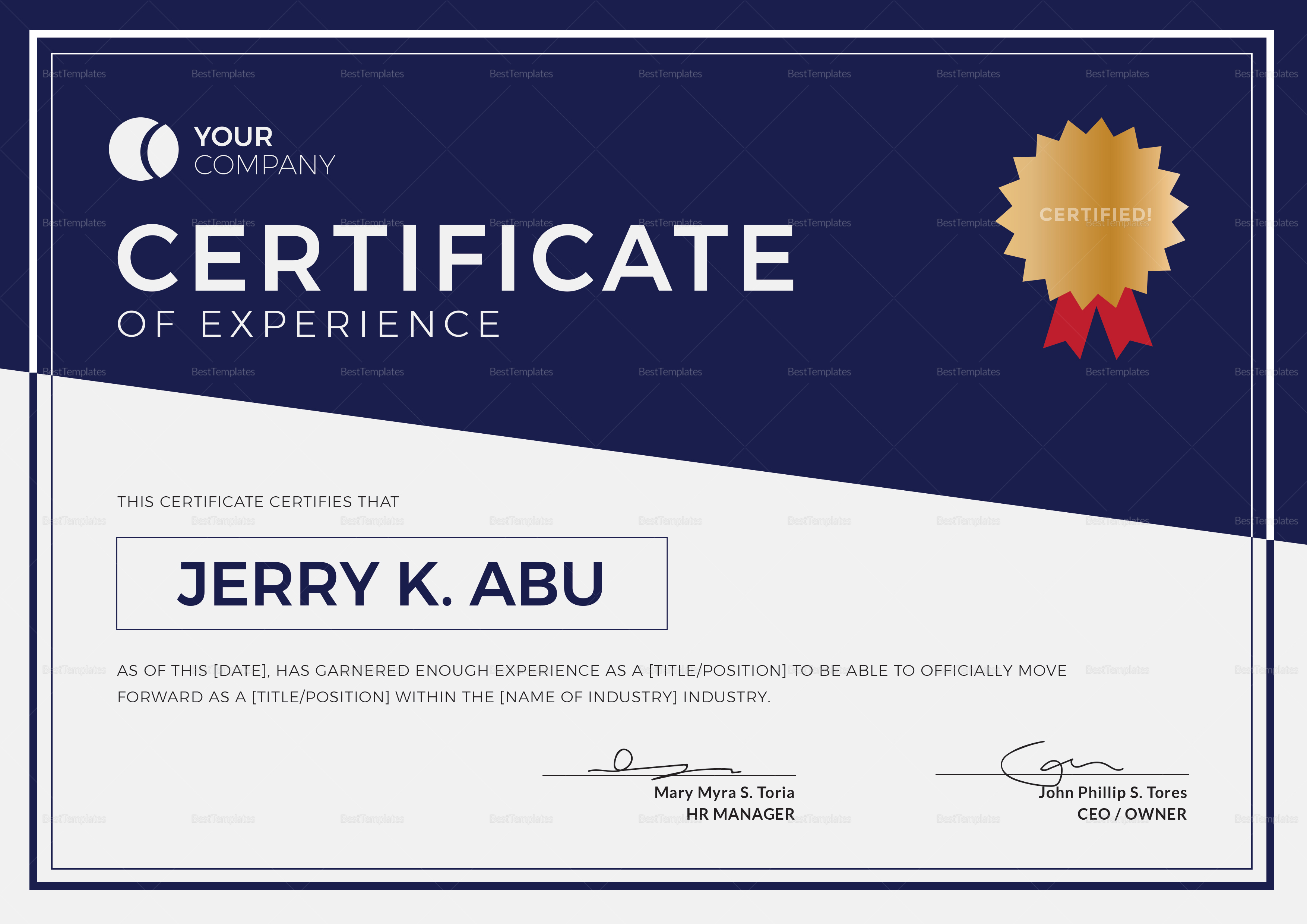 Template For Experience Certificate