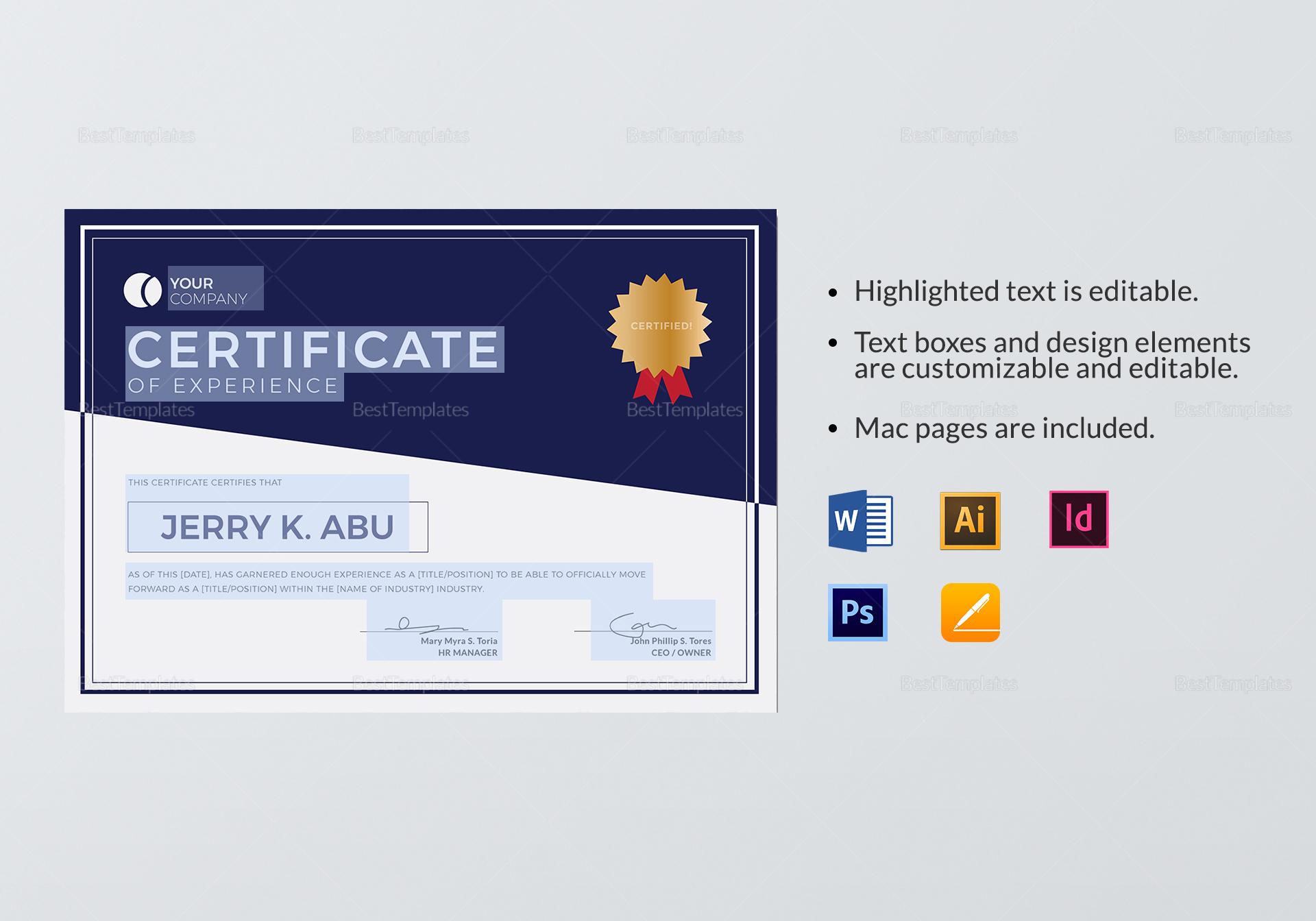 Experience Certificate
