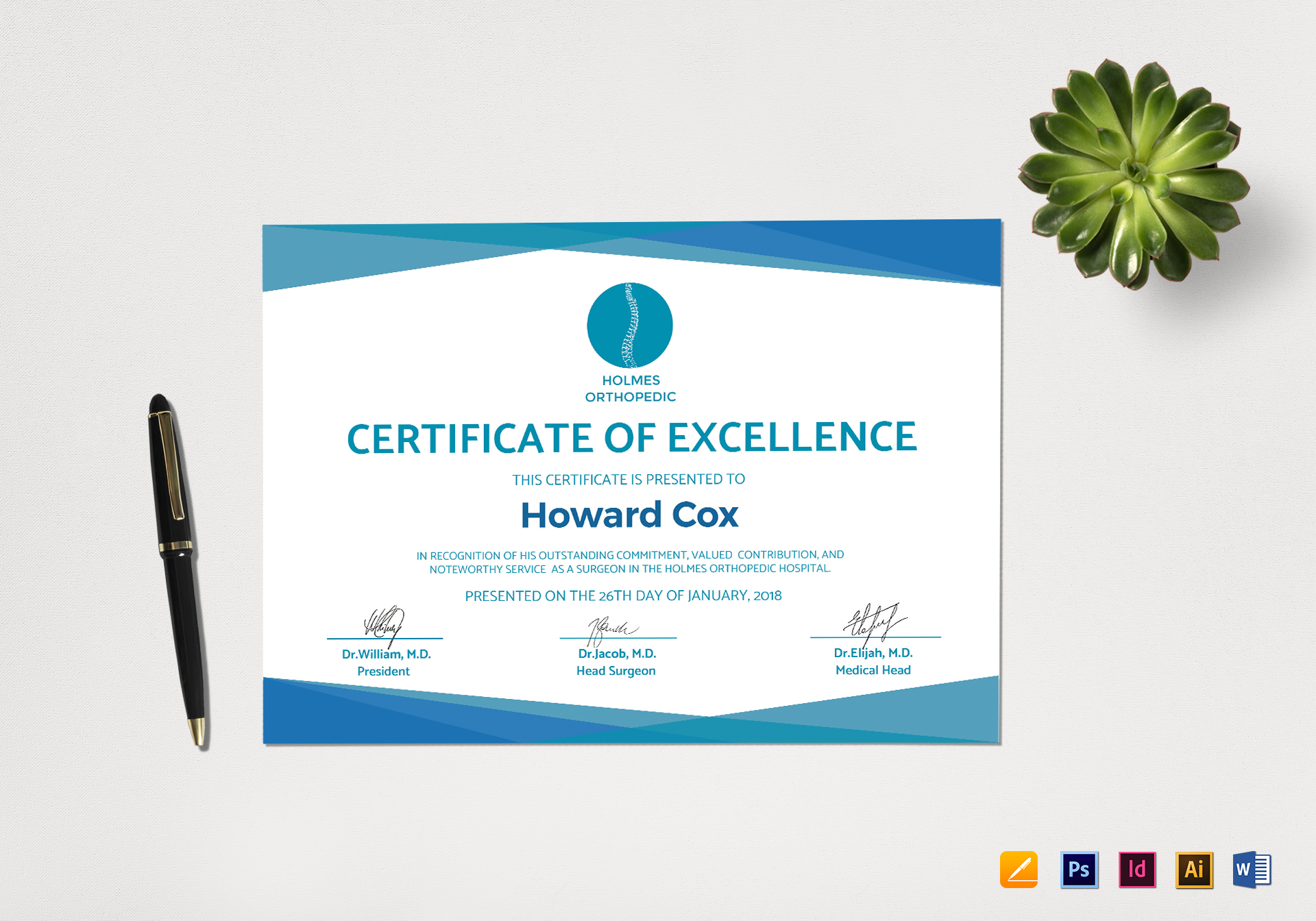 Medical Excellence Certificate Design Template In Psd Word