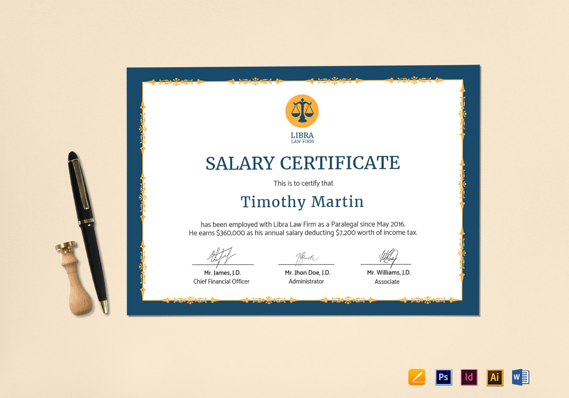 Employee Certificate Design Template In Psd Word Illustrator