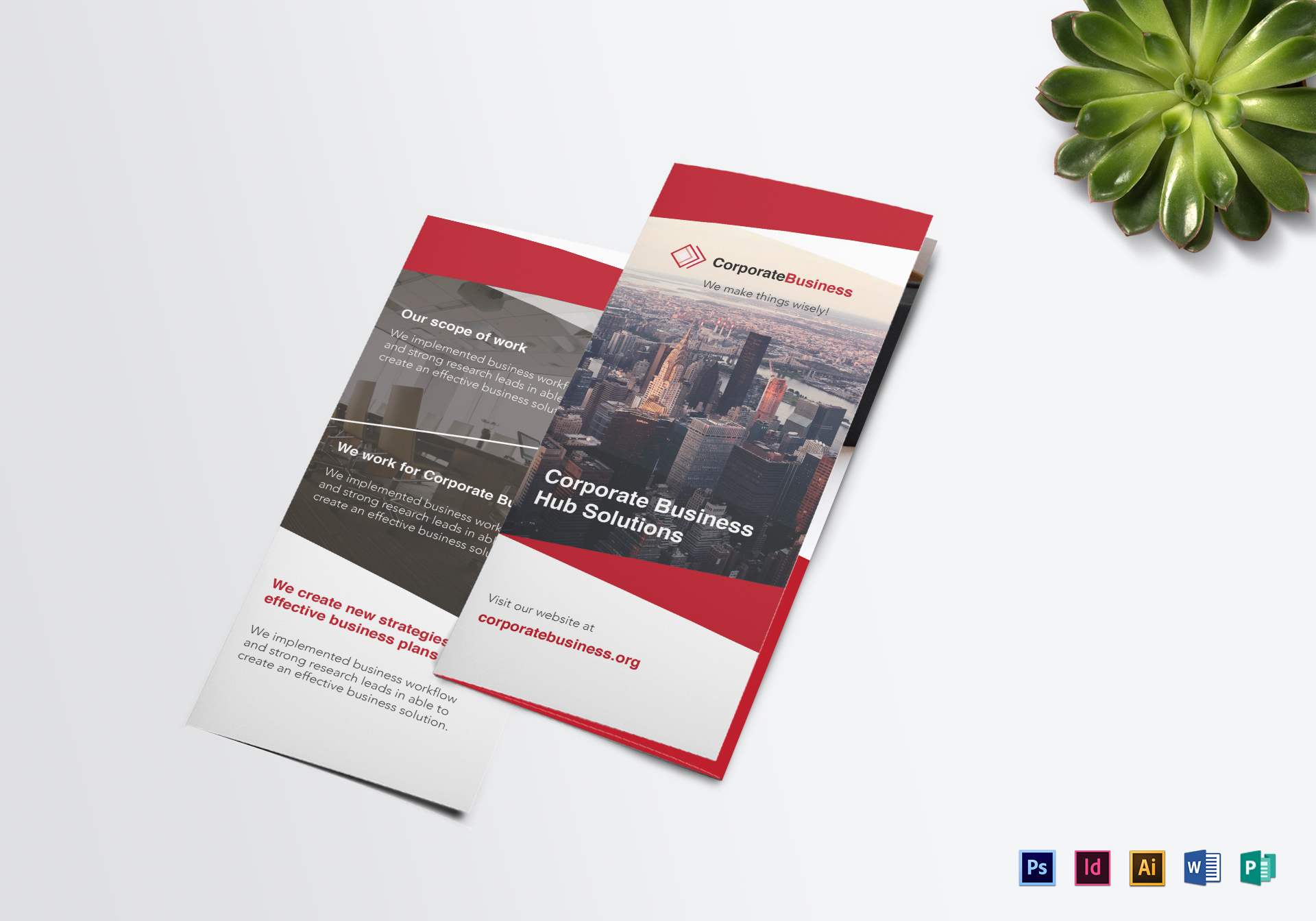 tri fold corporate business brochure design template in psd word