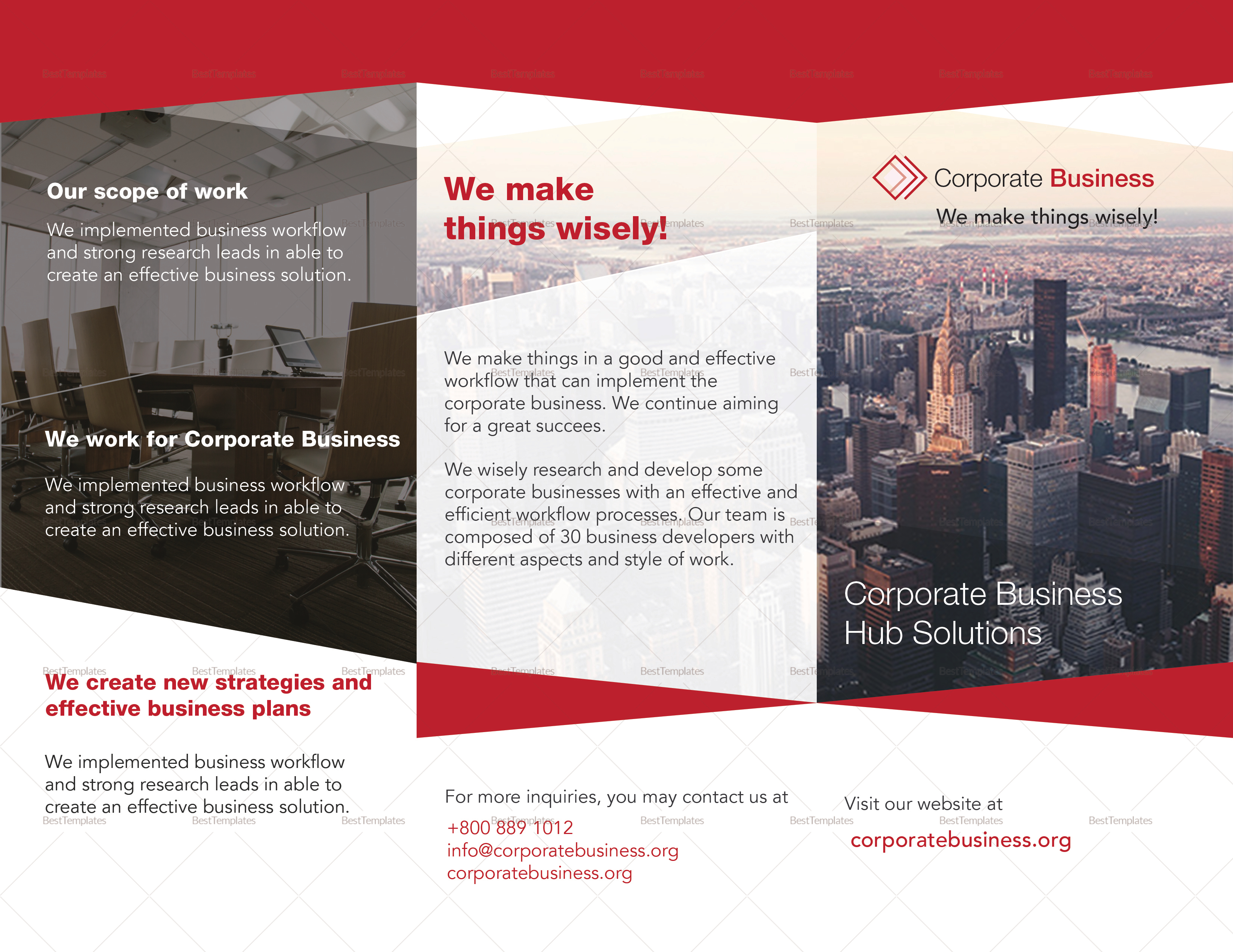 Tri fold corporate business brochure design template in for Tri fold brochure illustrator template
