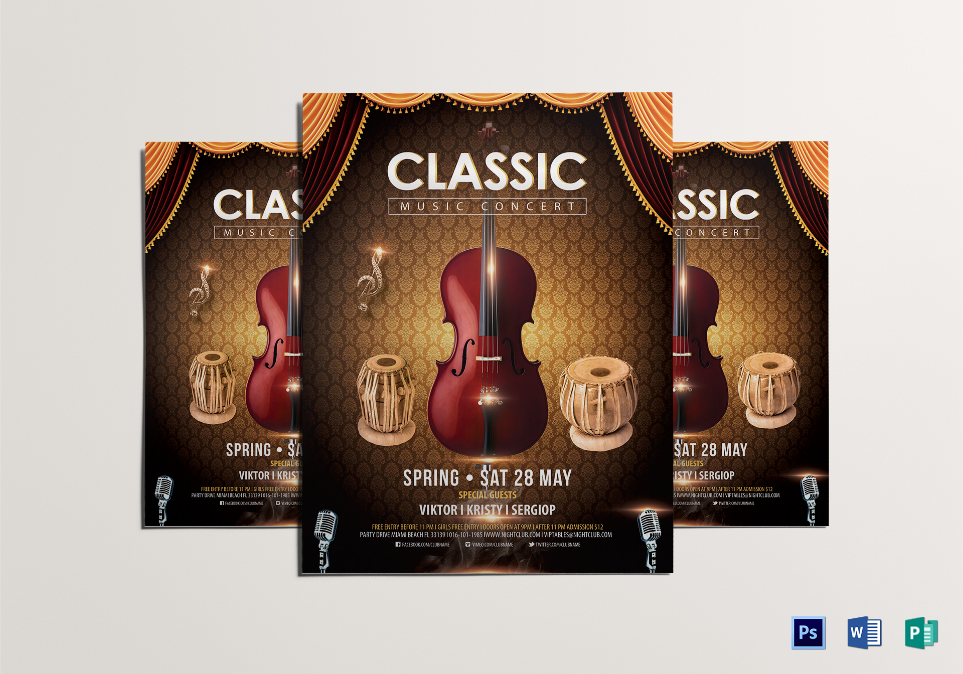 Classic Music Concert Flyer Design Template In Psd Word Publisher