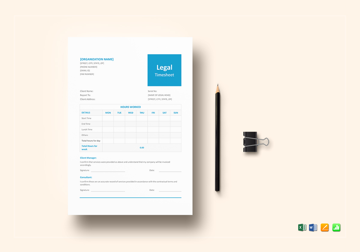 Sample Legal and Lawyer Timesheet Template