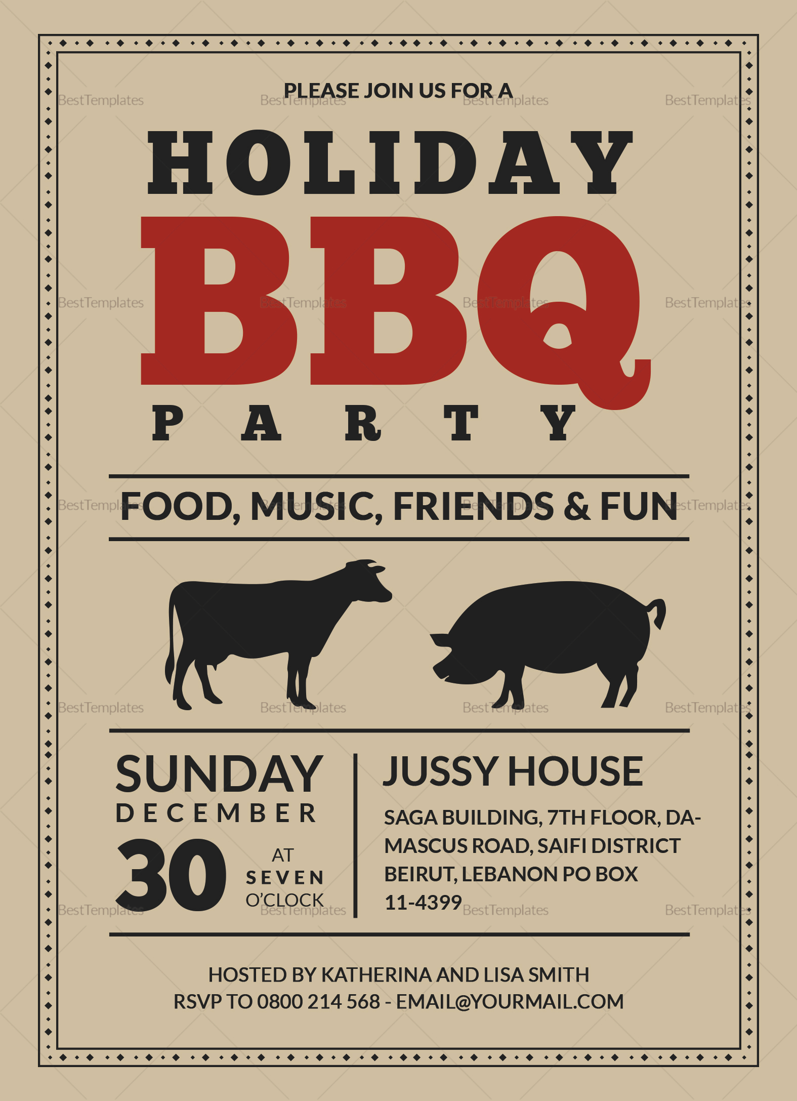barbecue party invitation card design template in word  psd  publisher