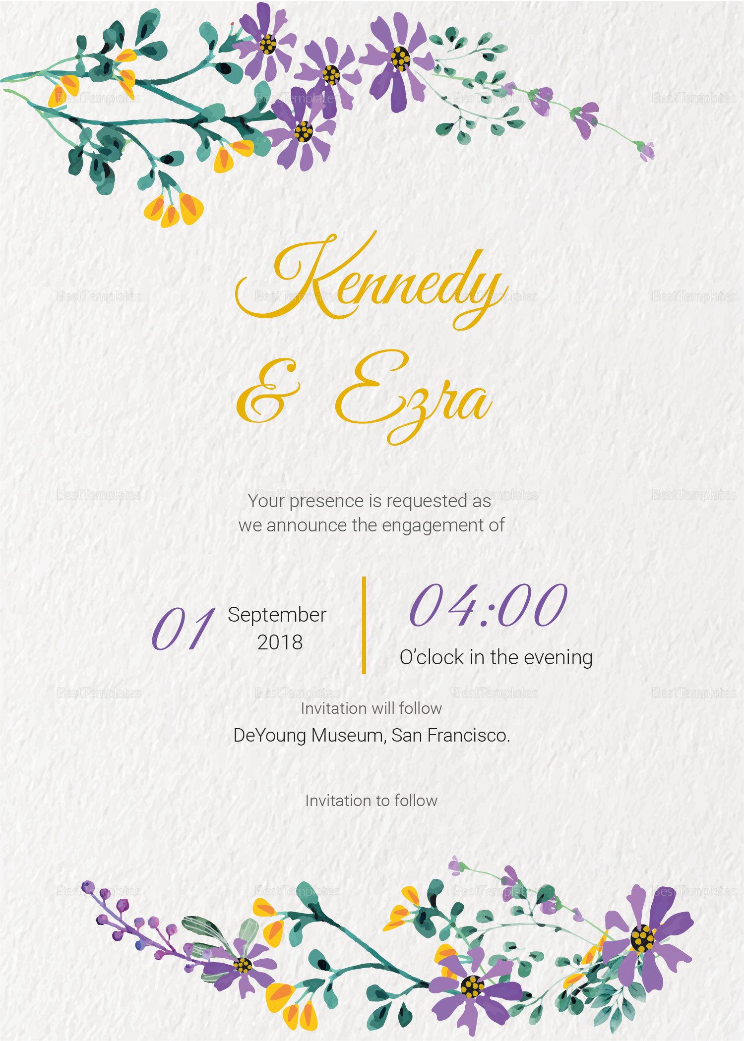 Garden Engagement Announcement Card Template