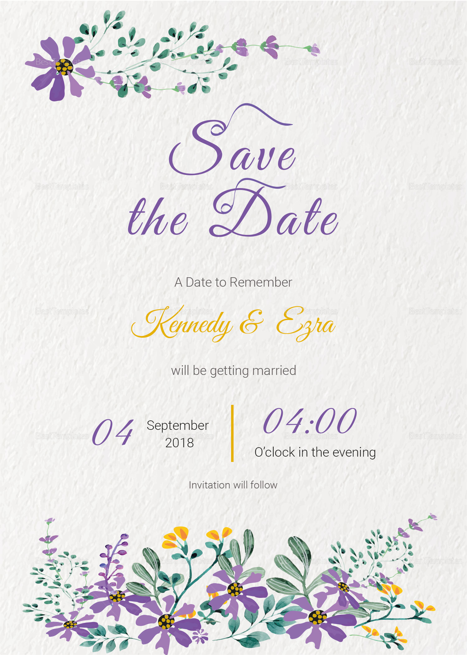 Garden Save the Date Card Template
