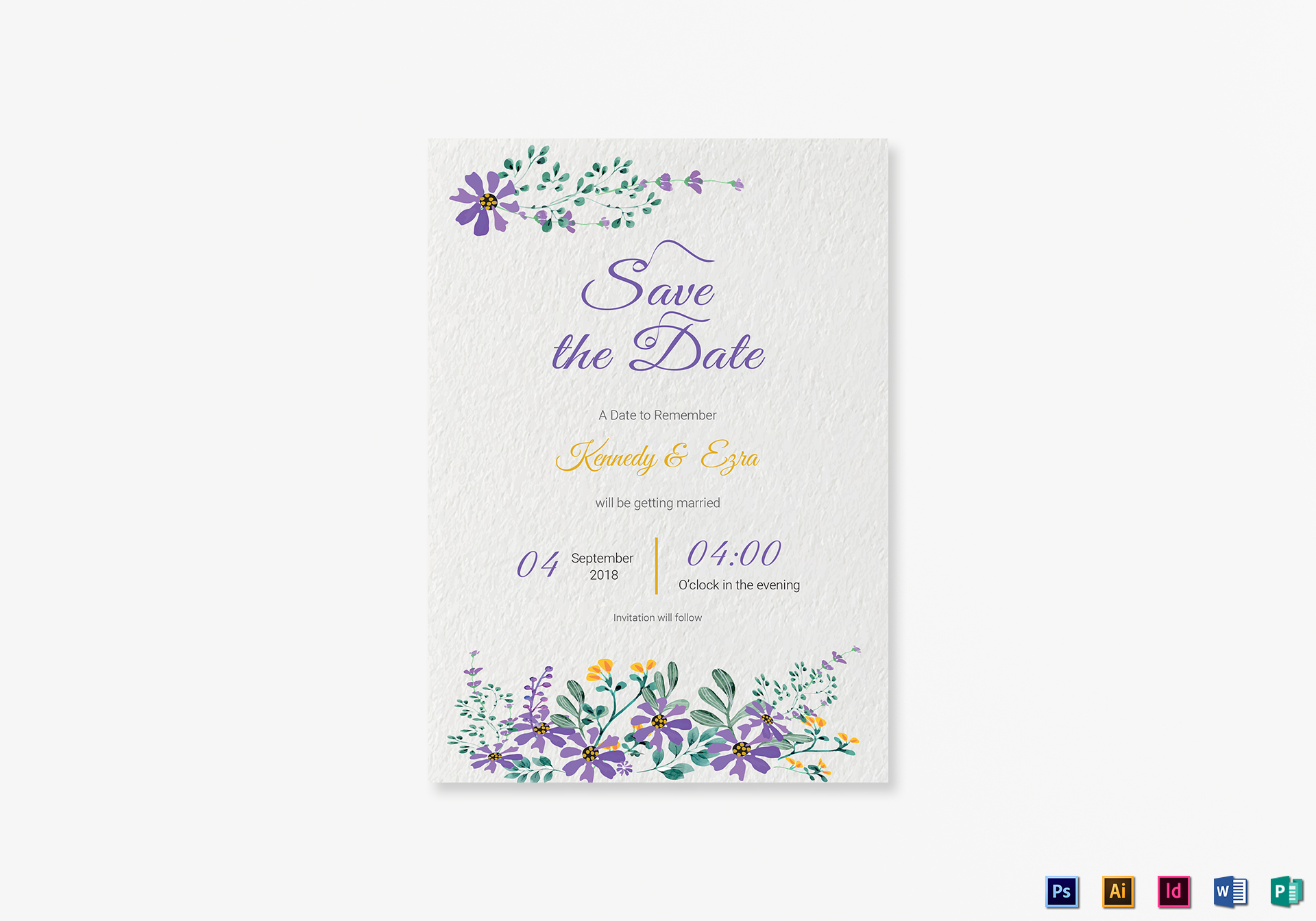 Garden save the date card template in psd word publisher for Publisher save the date templates
