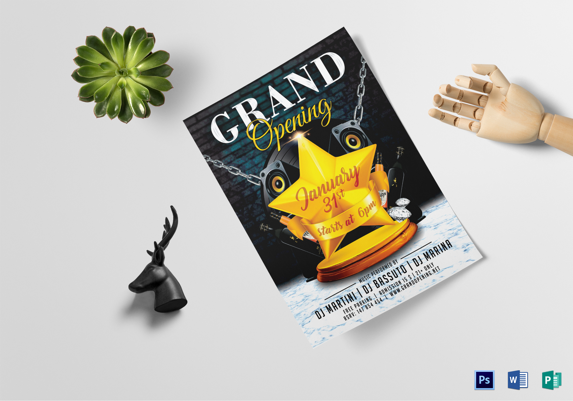 classy grand opening flyer design template in psd word publisher
