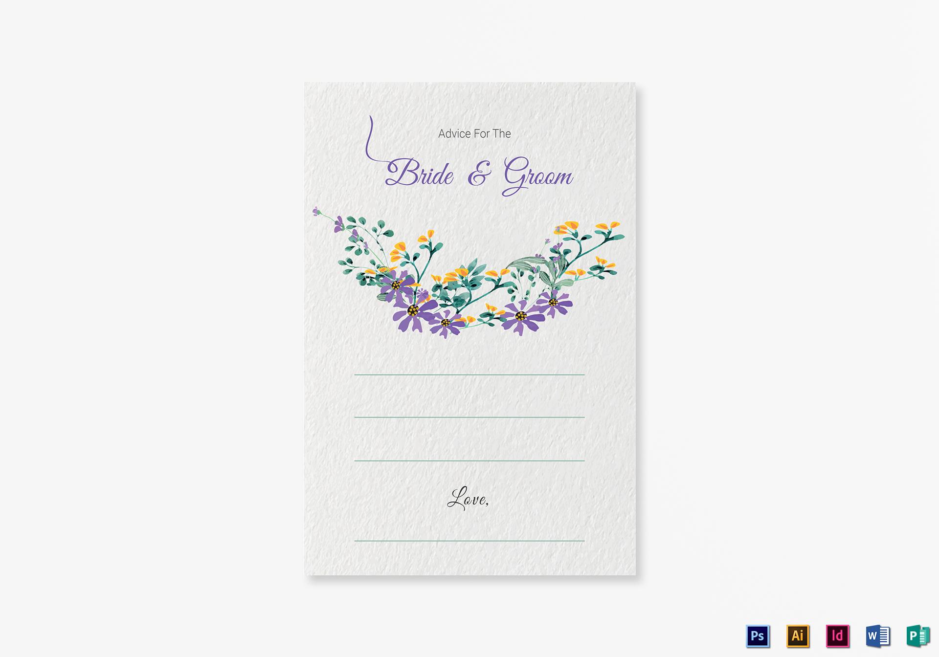 Garden Wedding Advice Card Template