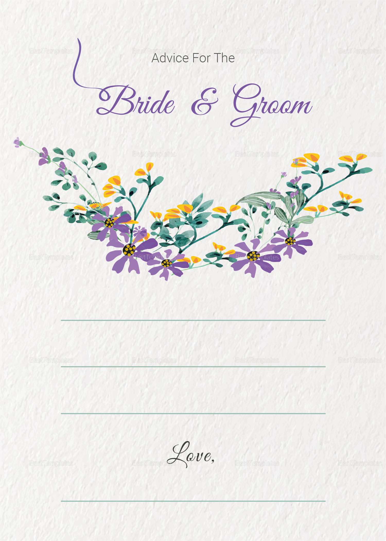 Garden Wedding Advice Card