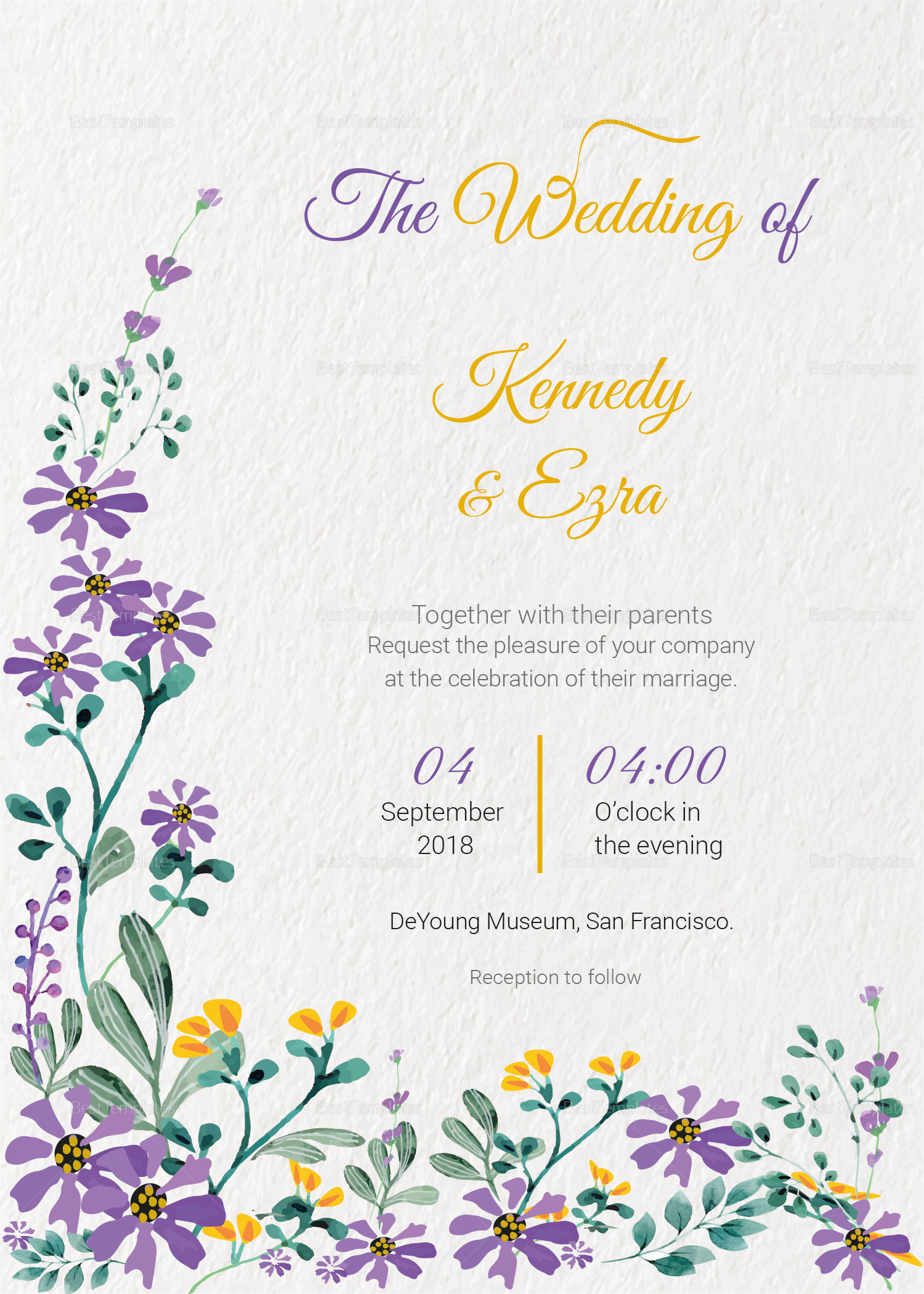 garden wedding invitation card template in psd word