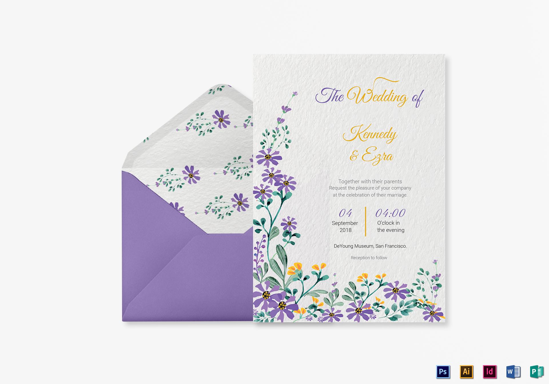 Garden Wedding Invitation Card Template
