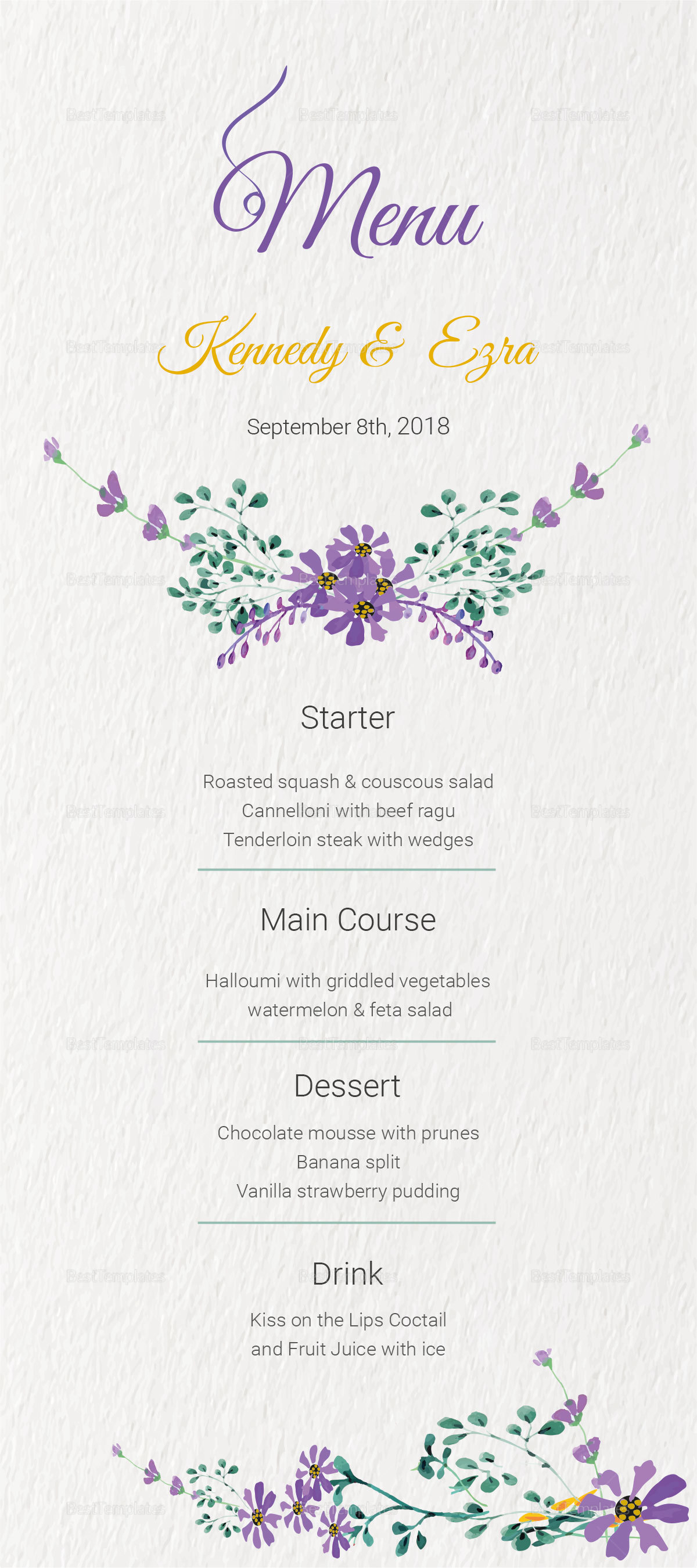 Garden Wedding Menu Card
