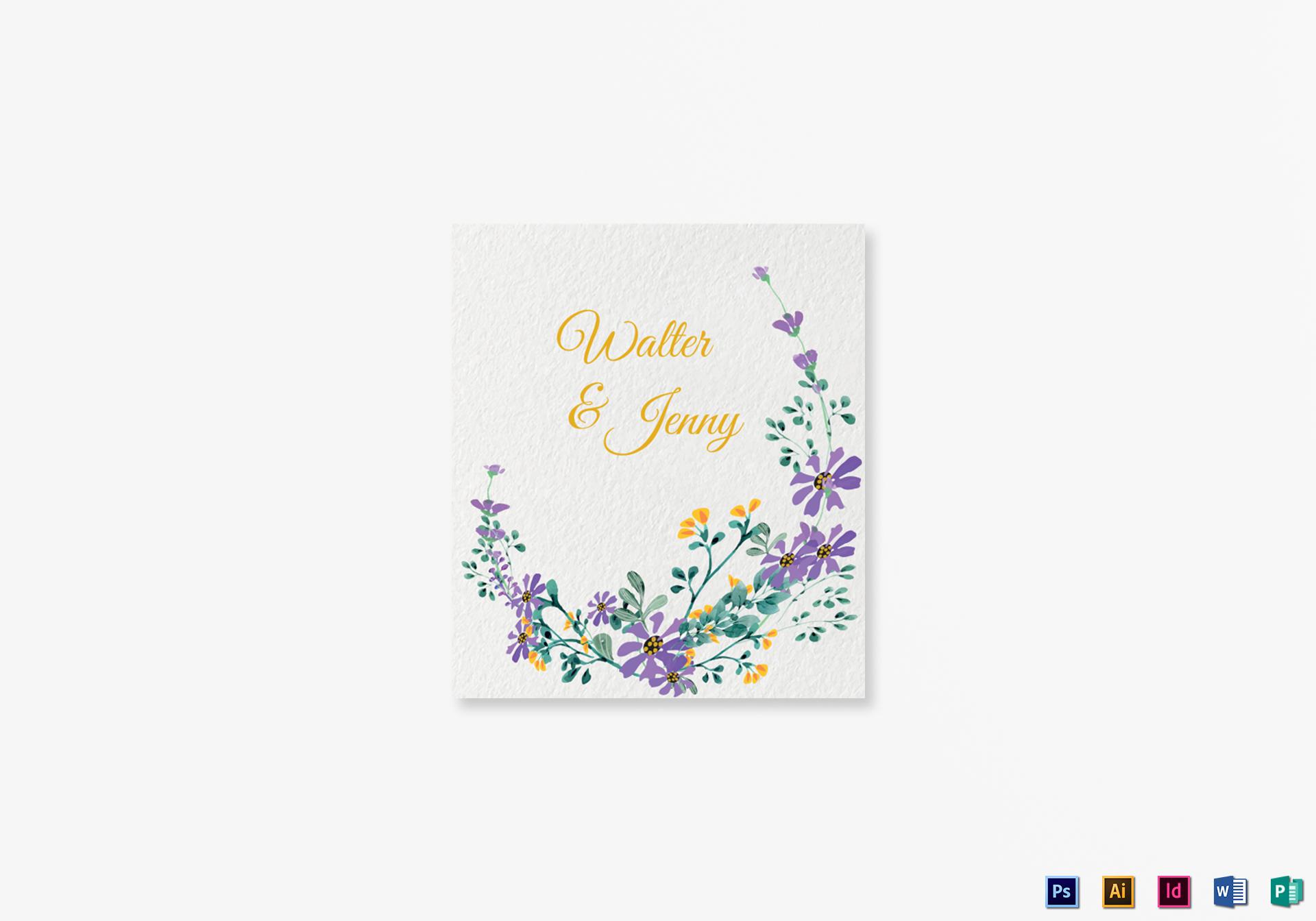 Garden Wedding Place card Template