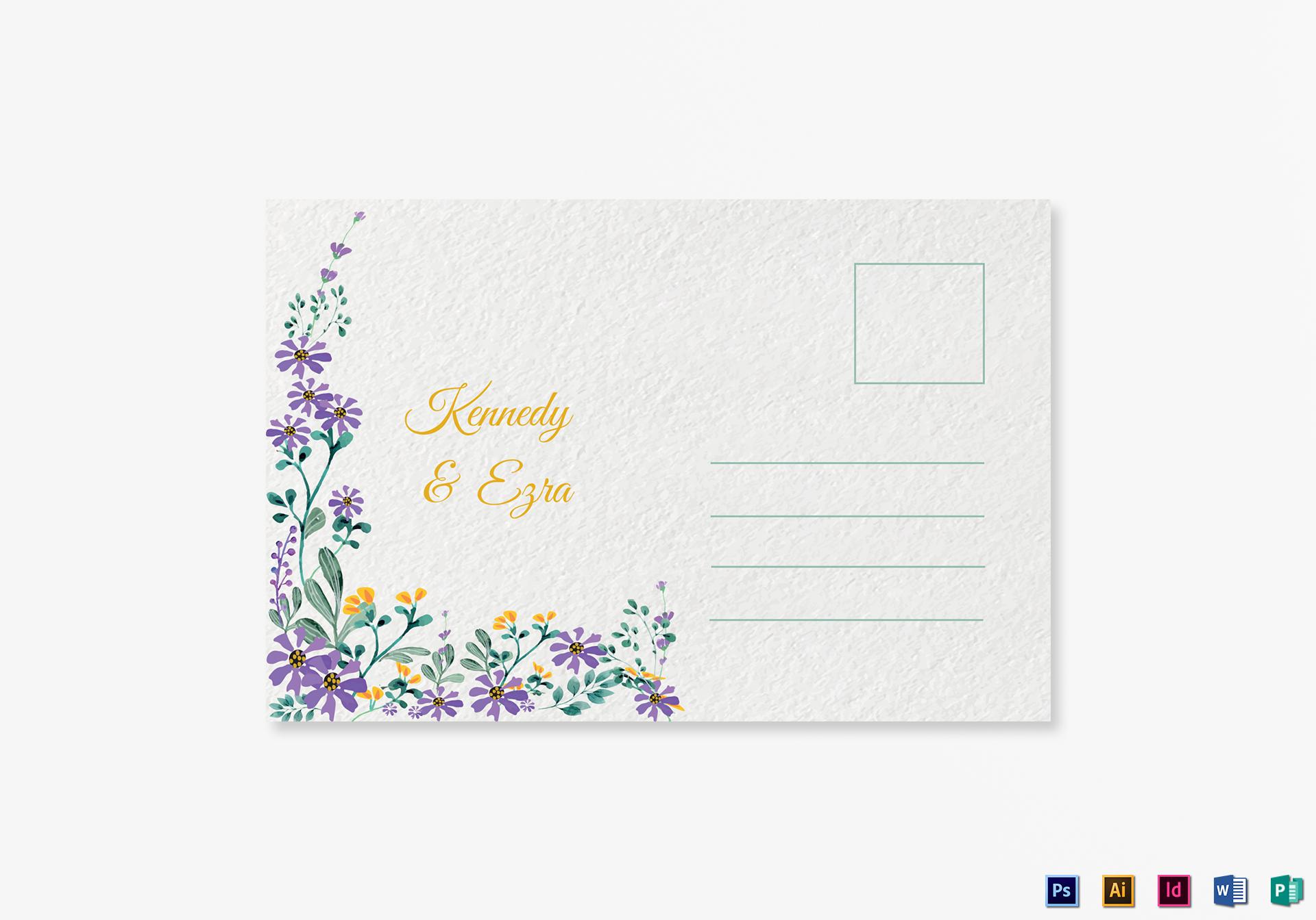 Garden Wedding Post Card Template