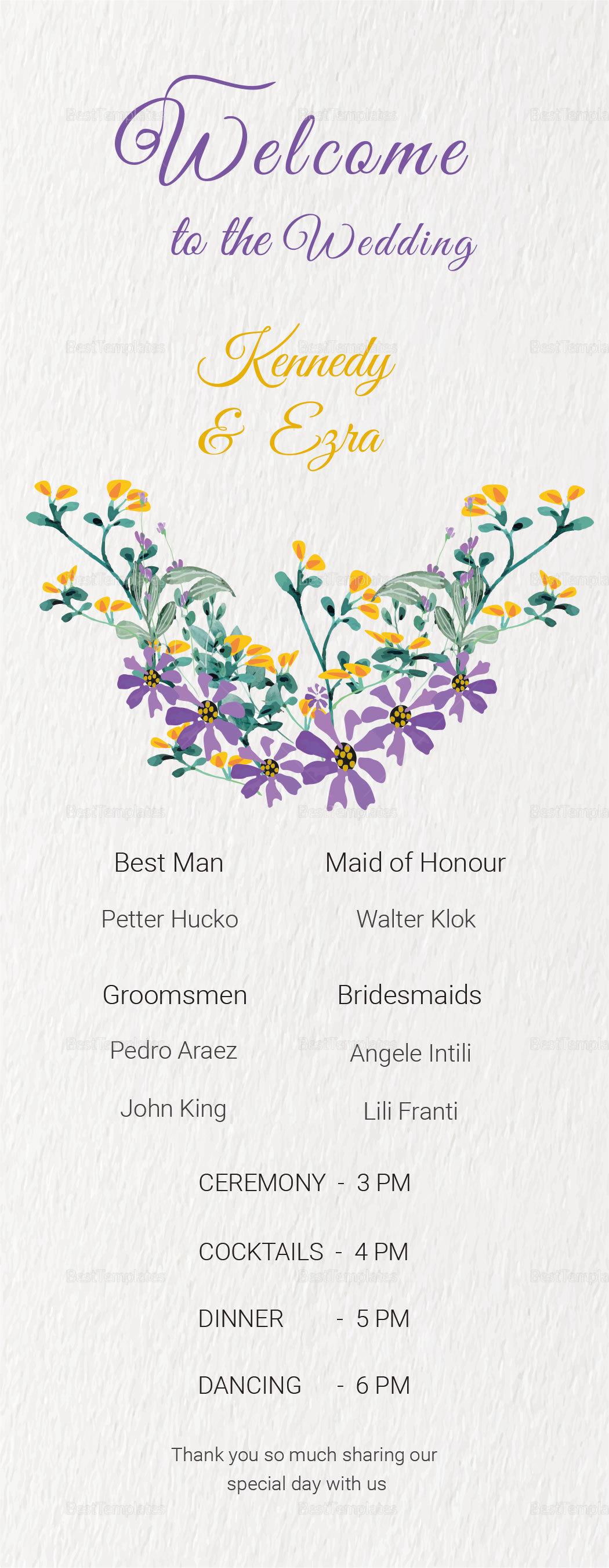 Garden Wedding Program Card