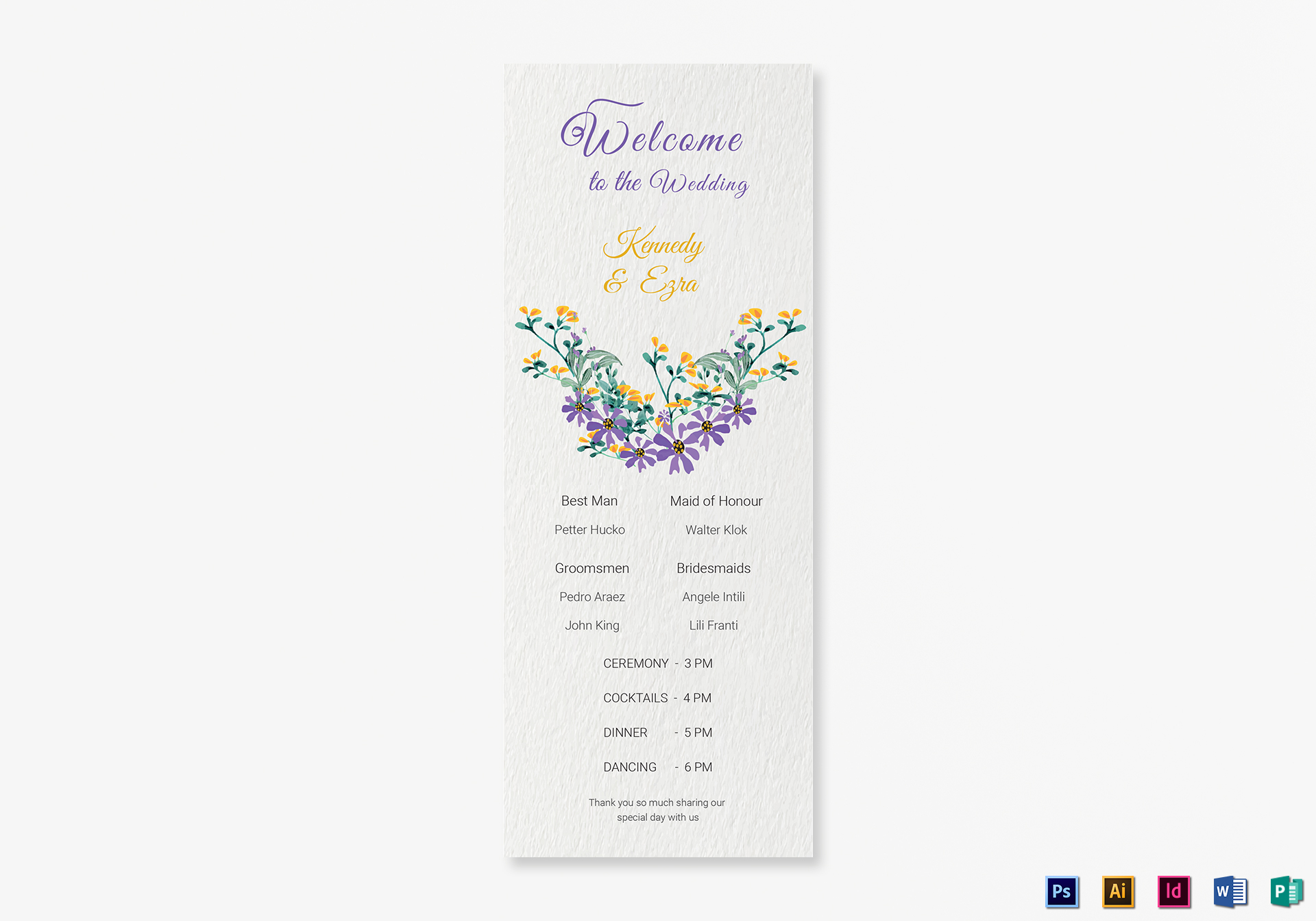 Garden Wedding Program card Template