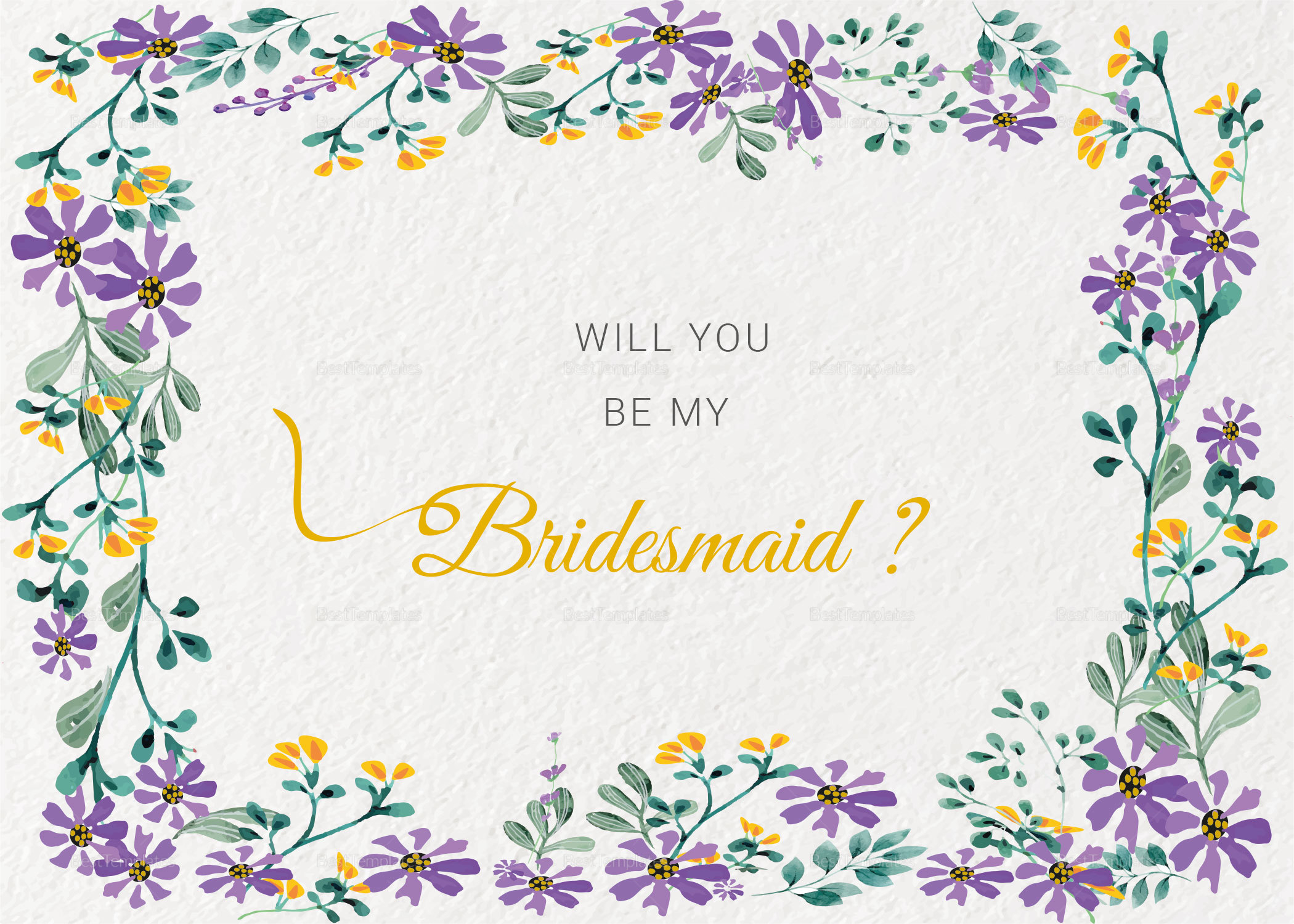 Garden Wedding Will You Be My Bridesmaid Card