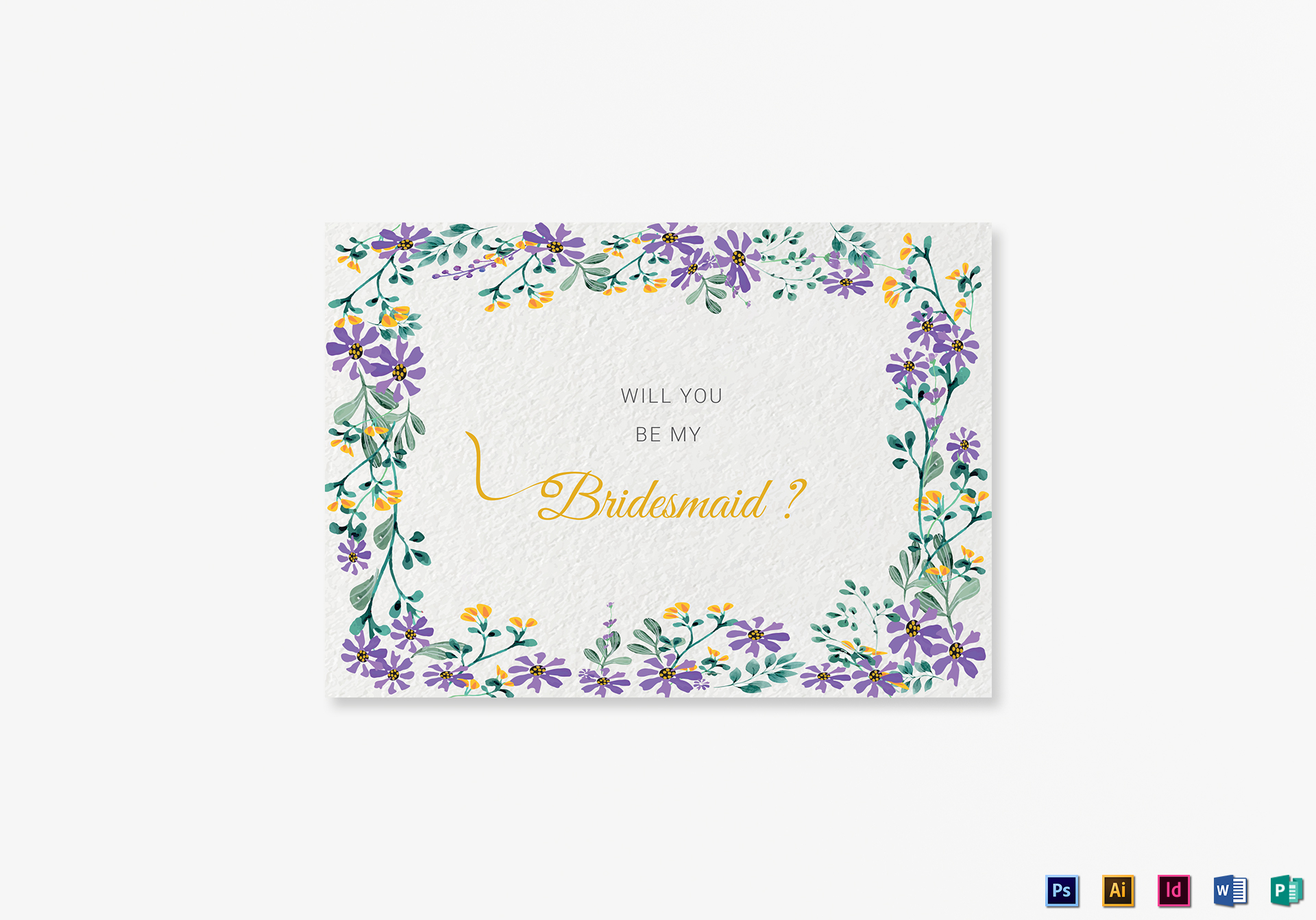 Garden Wedding Will You Be My Bridesmaid Card Template