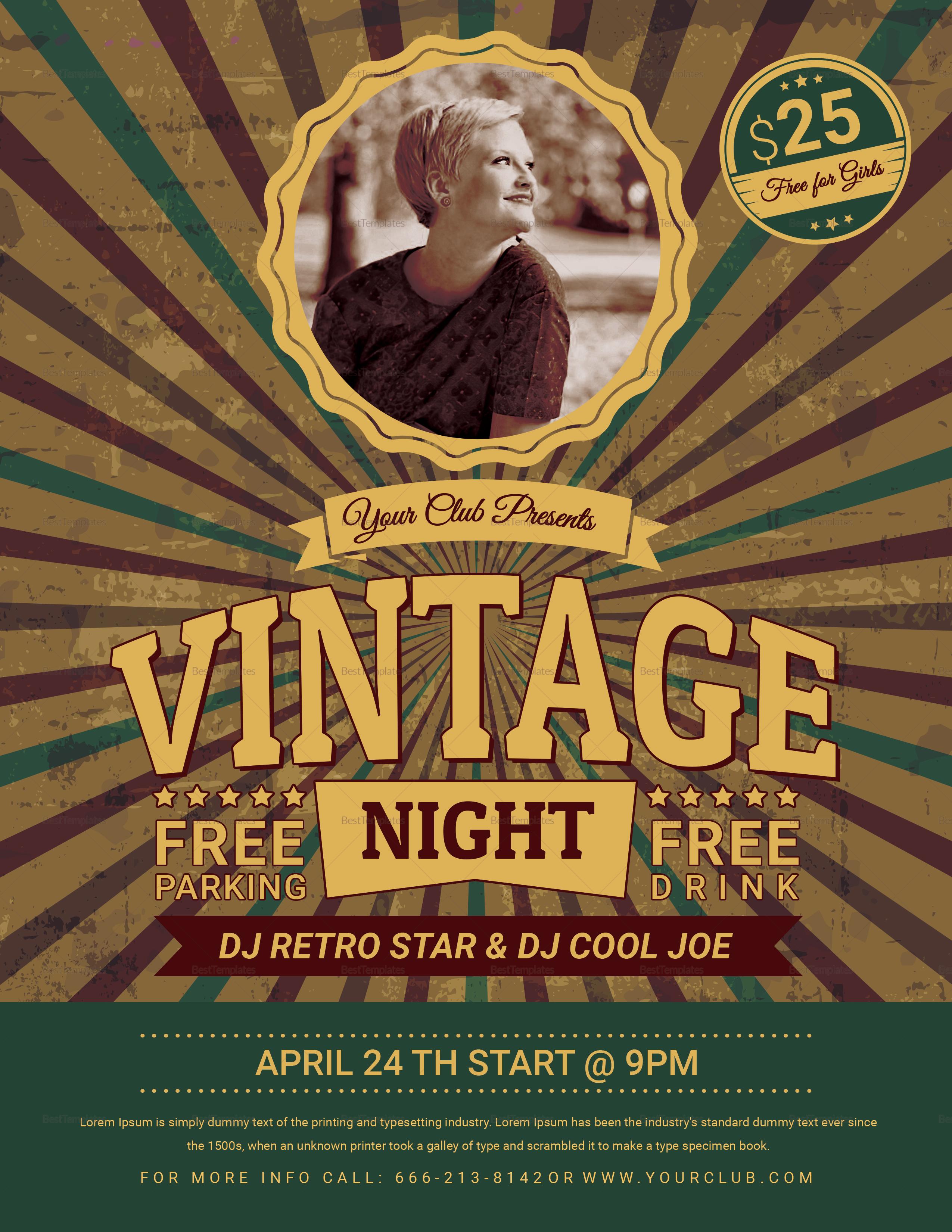 Vintage Retro Night Flyer Design