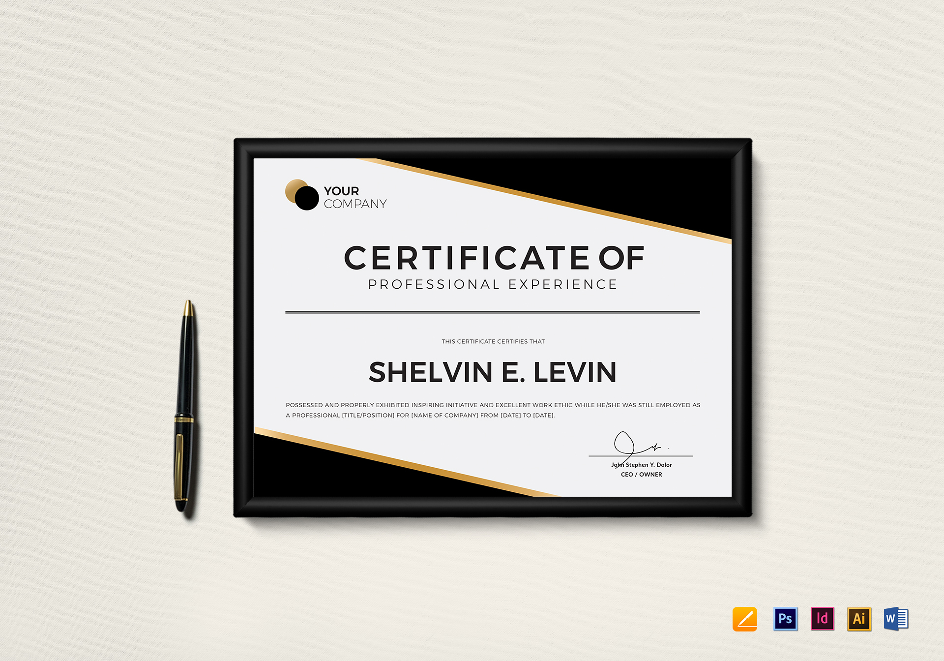 Professional experience certificate template in psd word professional experience certificate template alramifo Image collections
